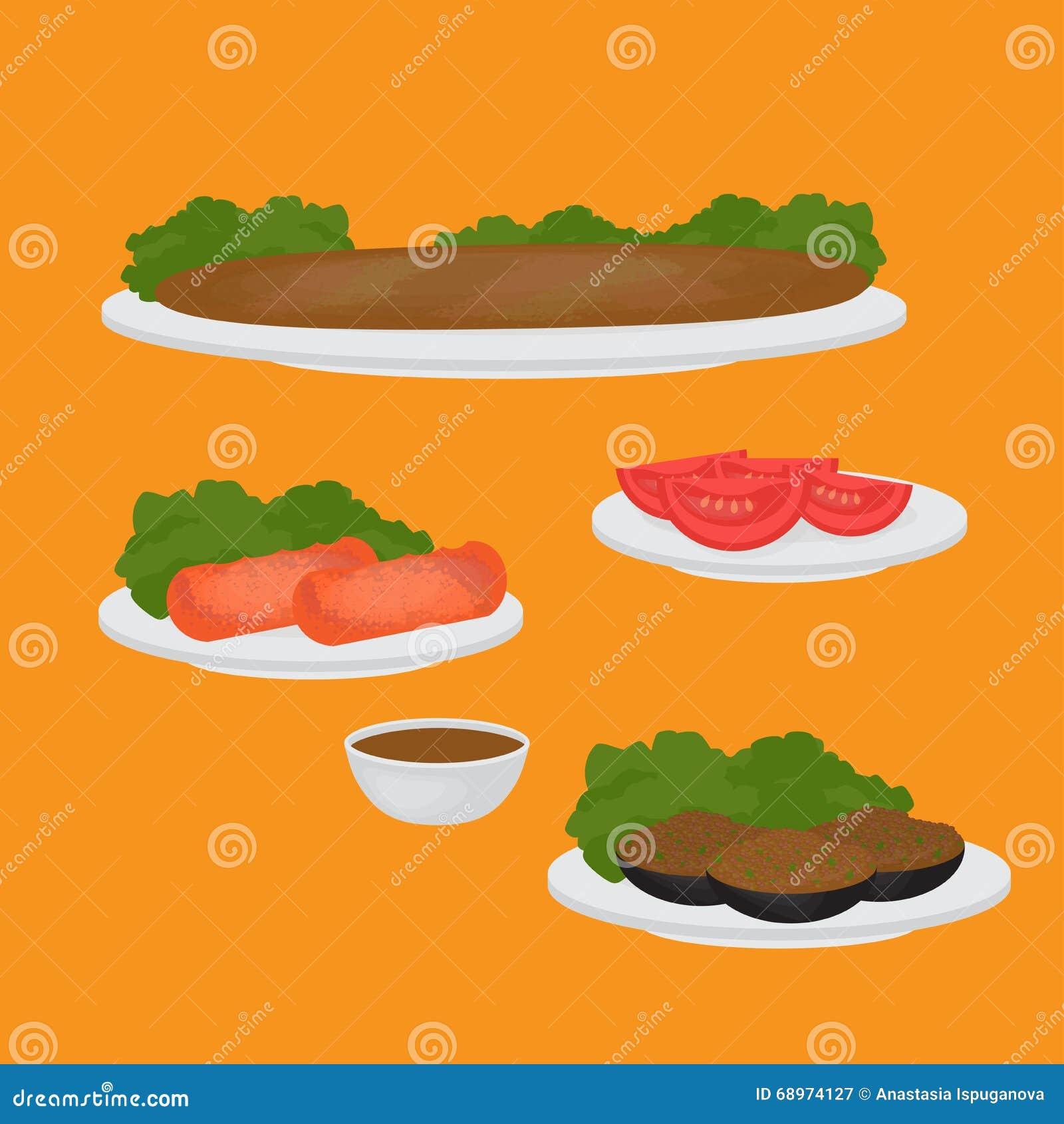 Tubería y acompañamientos comunes, chuleta turca de la lenteja, berenjena rellena, tomate y kebab Comida tradicional de la cocina