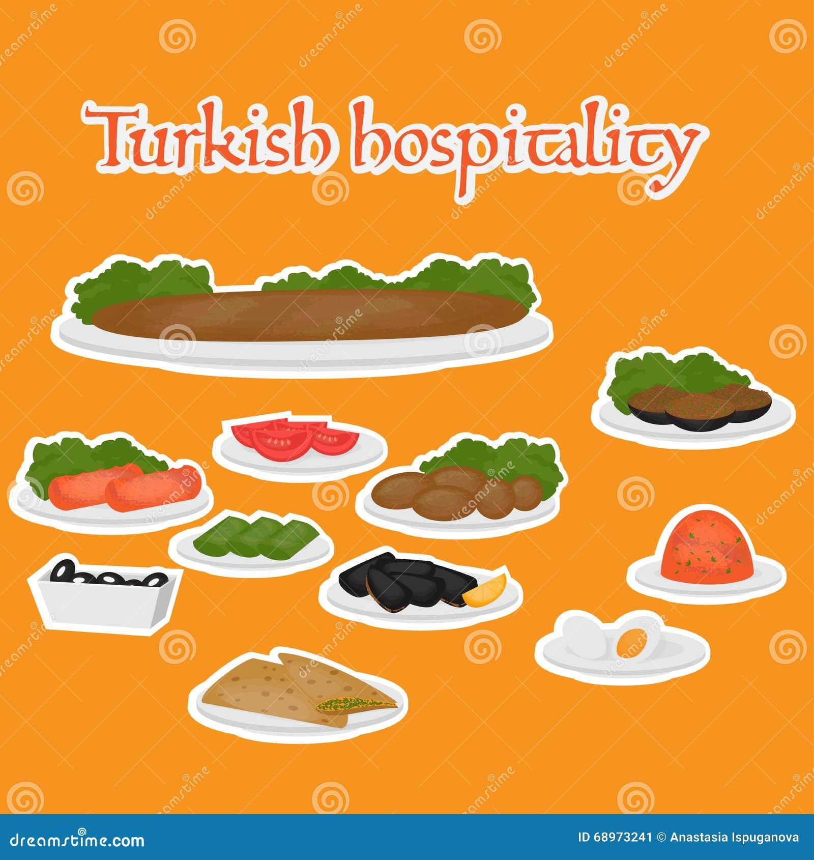 Tubería y acompañamientos comunes, postres de la hospitalidad turca Comida tradicional de la cocina turca