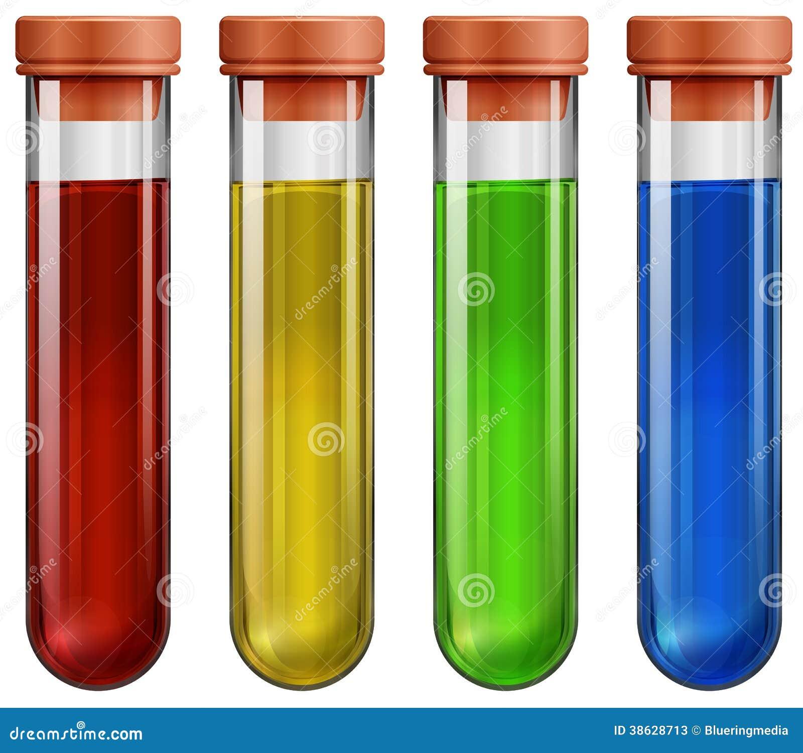 Tubes à essai avec des produits chimiques