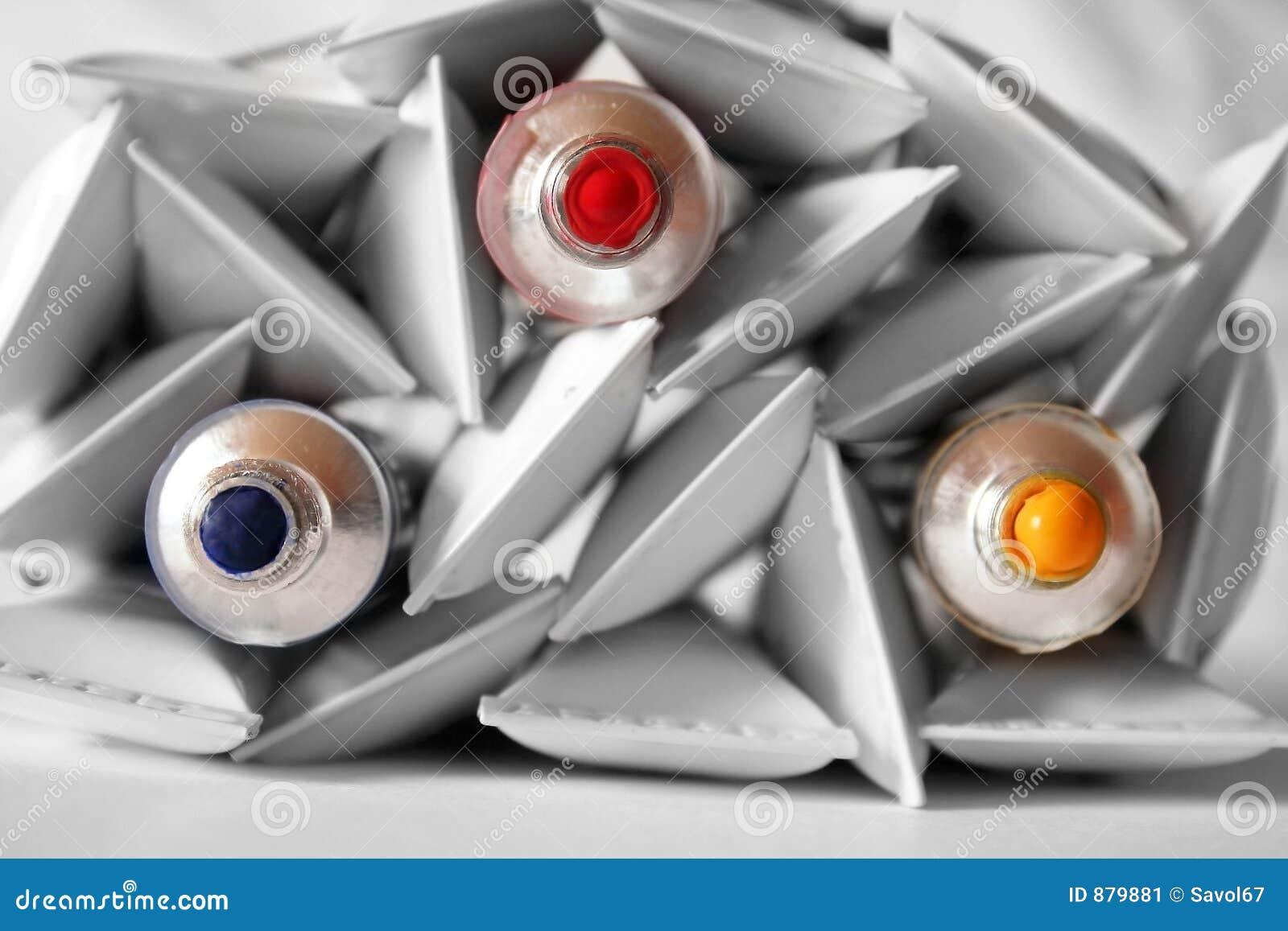 Tubes De Peinture  Couleurs Primaires Image stock  Image