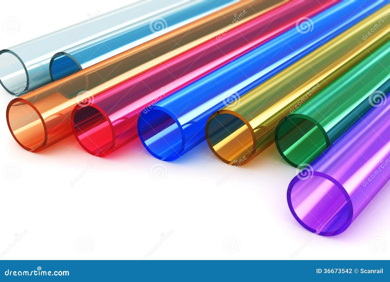 Tubes en plastique acryliques de couleur photographie for Tipi di tubi di plastica