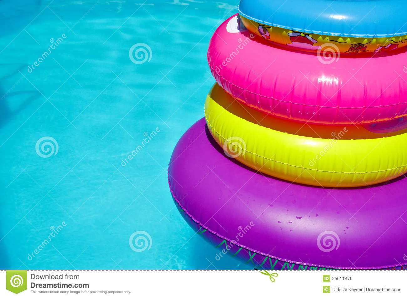 Tubes in swimming pool