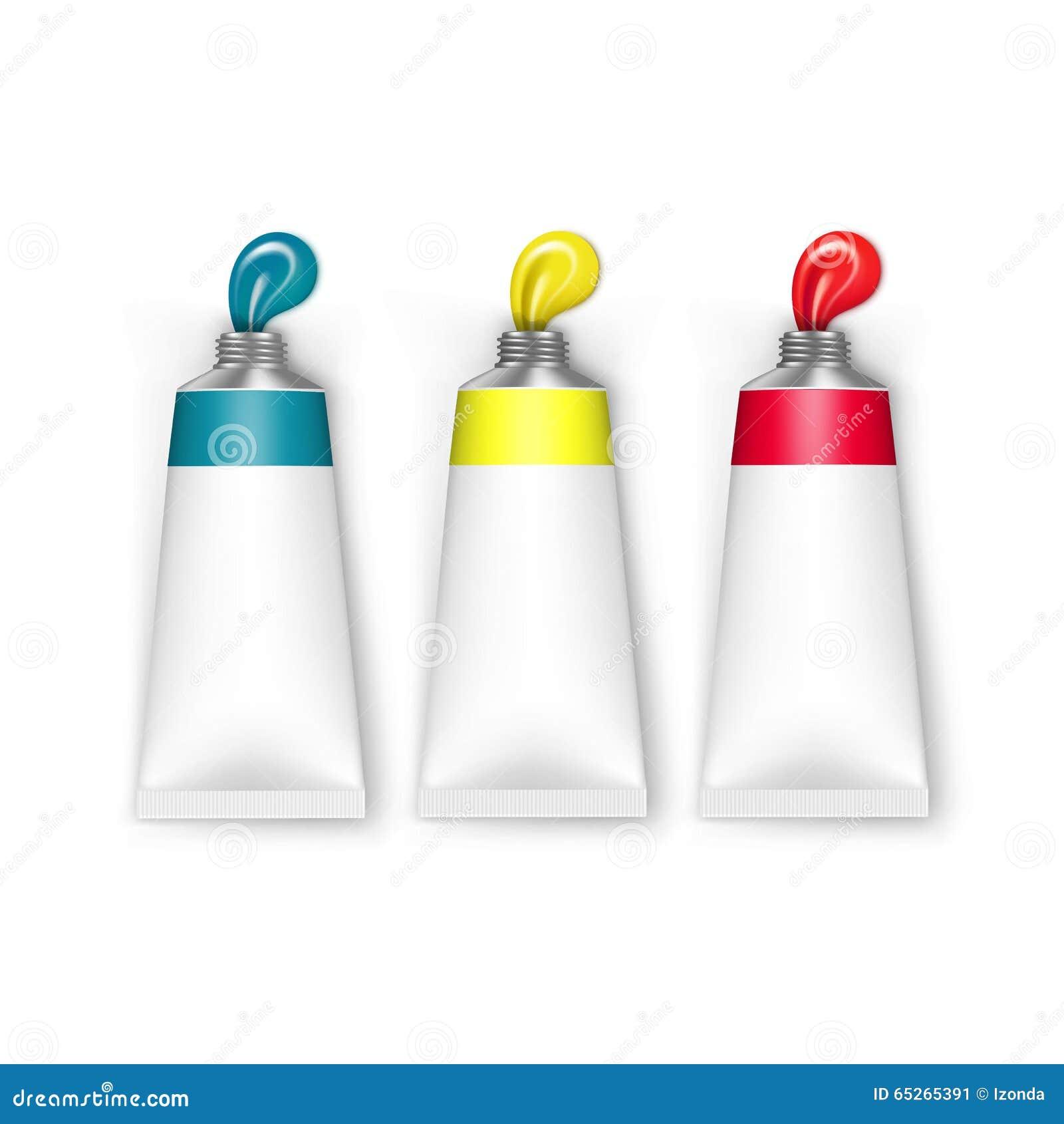 Tubi colorati di vettore di pittura isolati su bianco