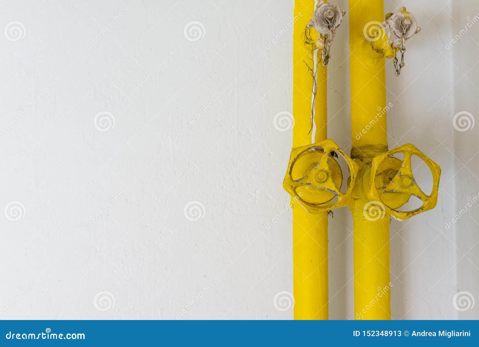 Tubi gialli su una parete bianca