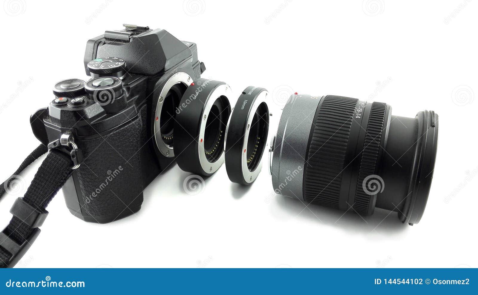 Tubo macro da extensão introduzido entre a lente e o corpo para câmeras do dslr