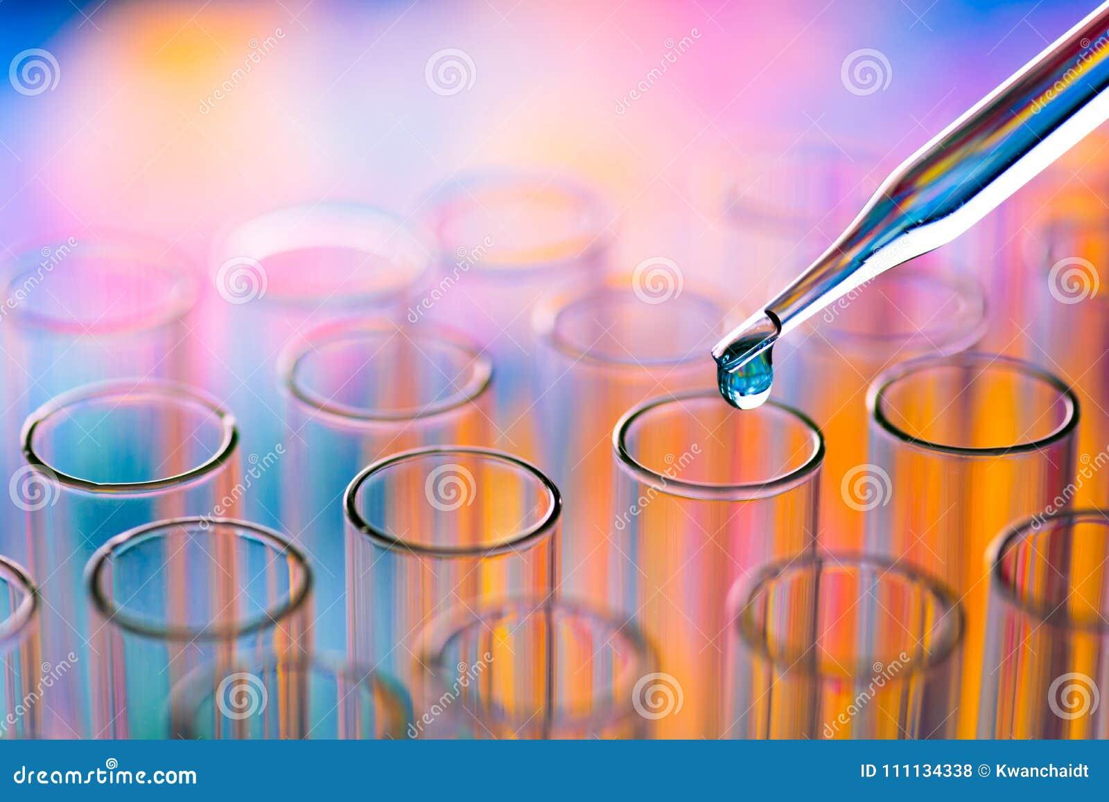 Tubos de ensayo del laboratorio de ciencia, equipo de laboratorio para la investigación nuevo m