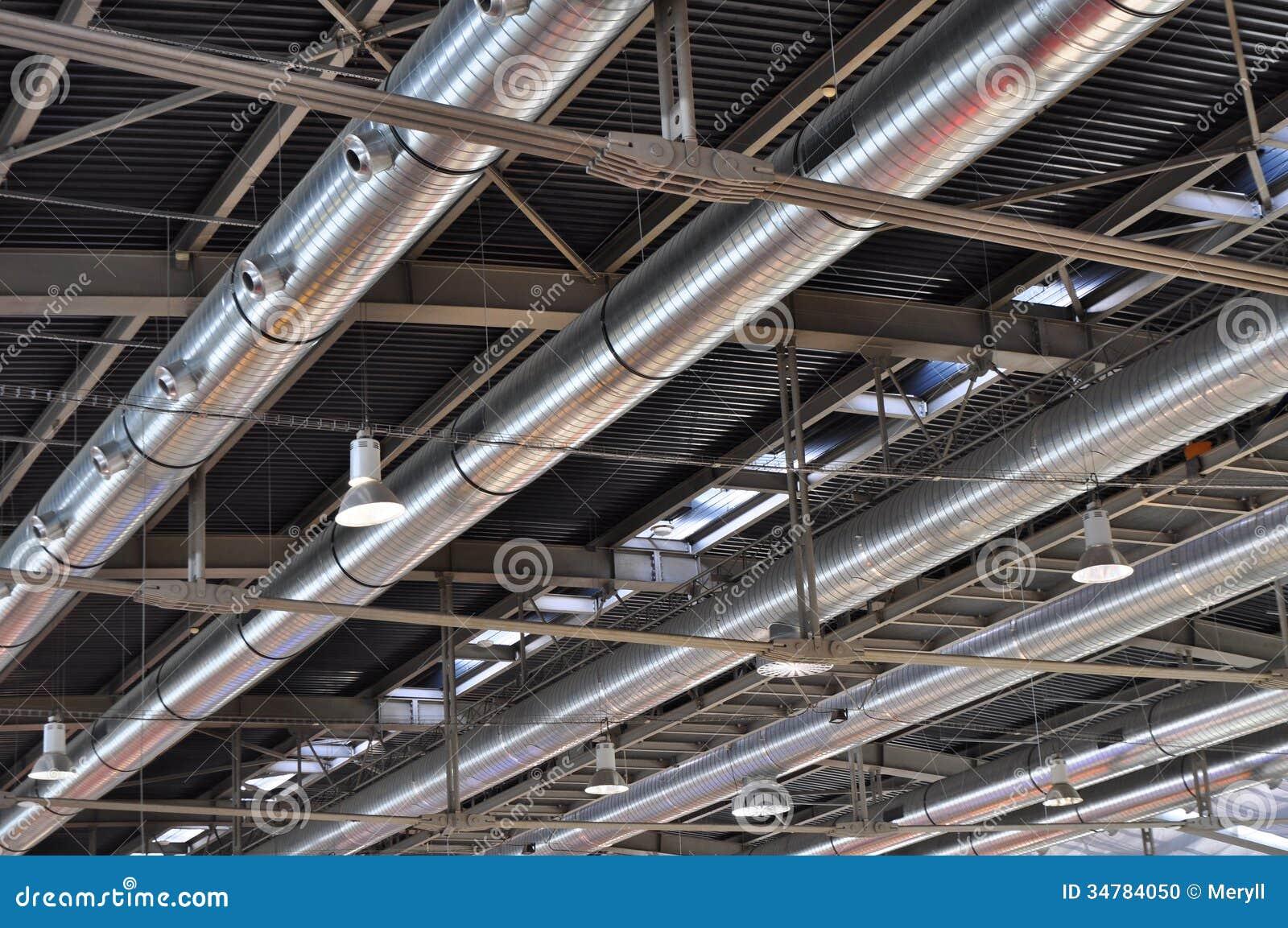 tubos industriales aire acondicionado fondo foto de