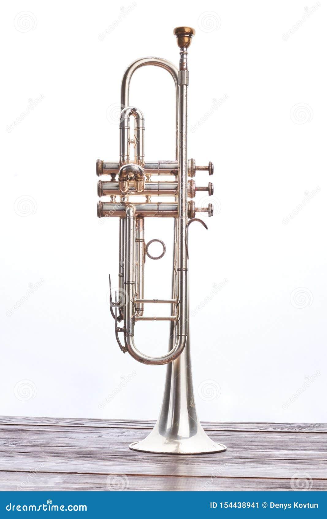 Tubowy instrument nad białym tłem