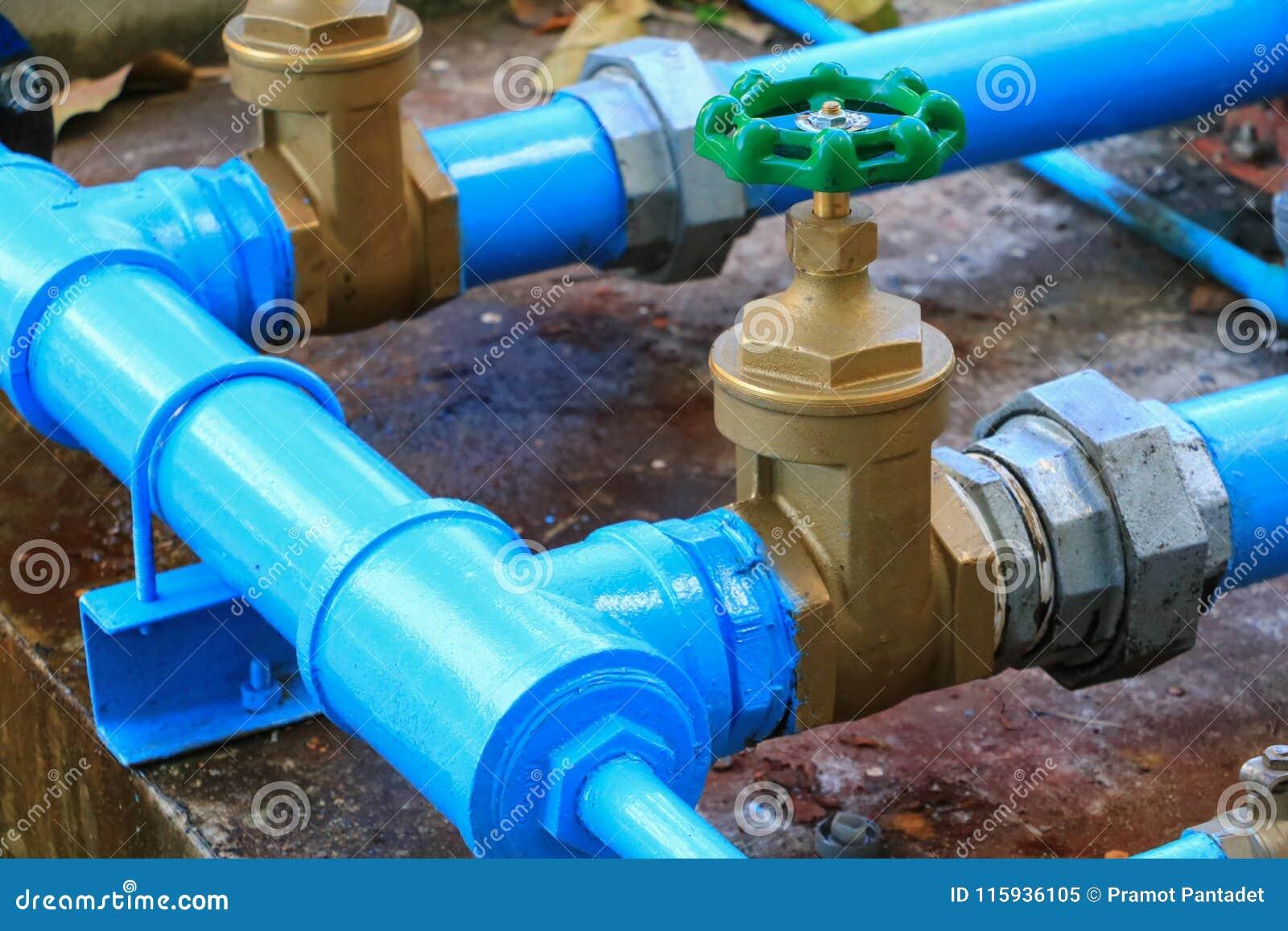 Tubulação de aço da torneira da junção do encanamento da válvula da água com fim verde do botão acima