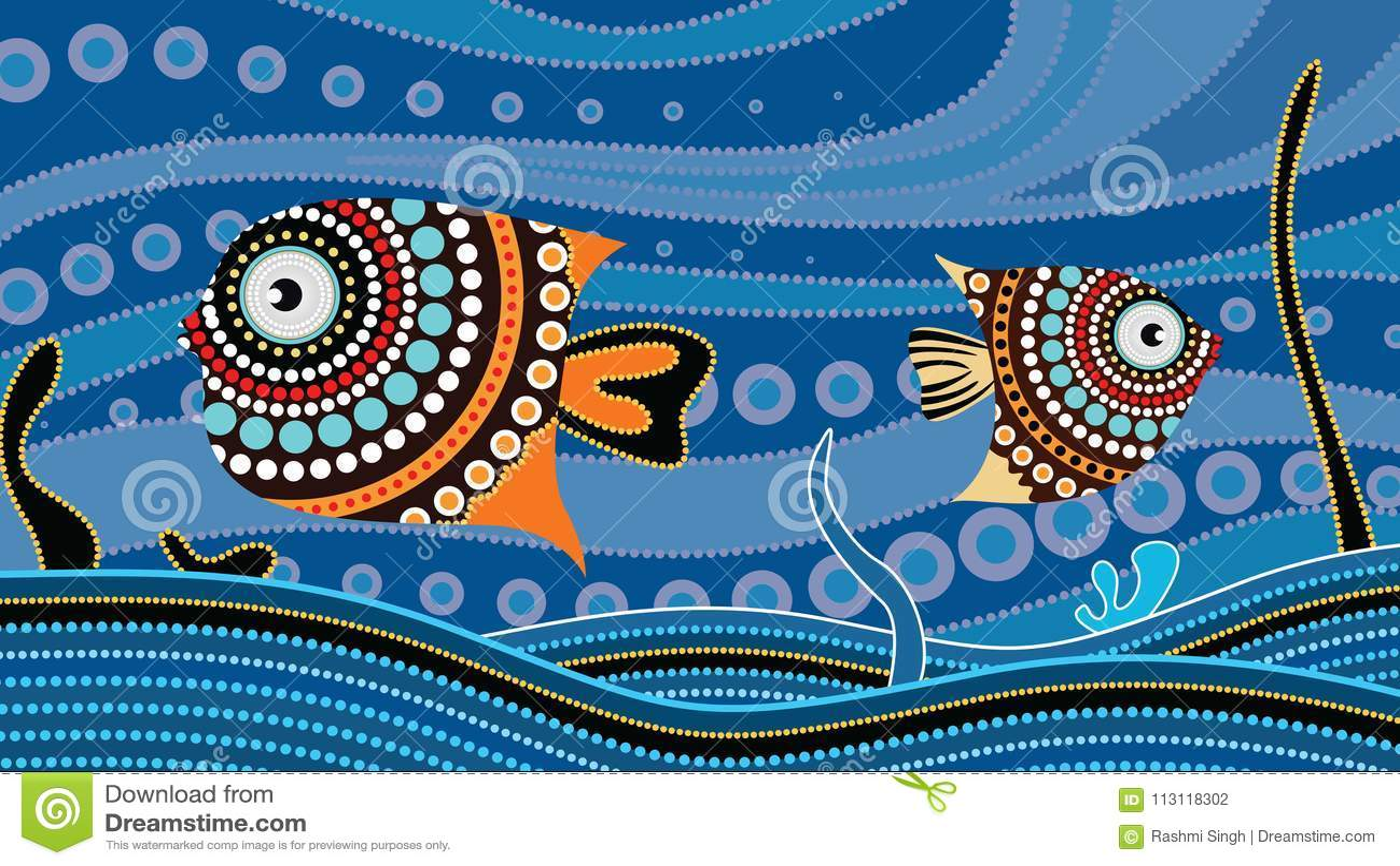 Tubylczy kropki sztuki obraz z ryba Podwodny pojęcie, Krajobrazowy tło tapety wektor