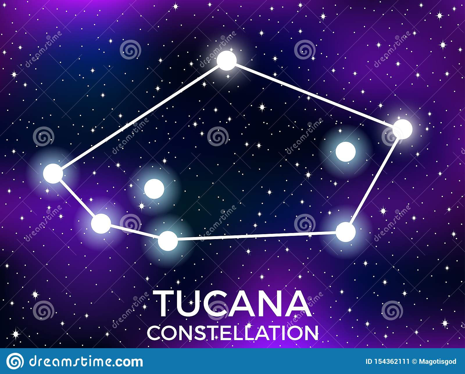 Tucana constellation. Starry night sky. Zodiac sign. Cluster of stars and galaxies. Deep space. Vector