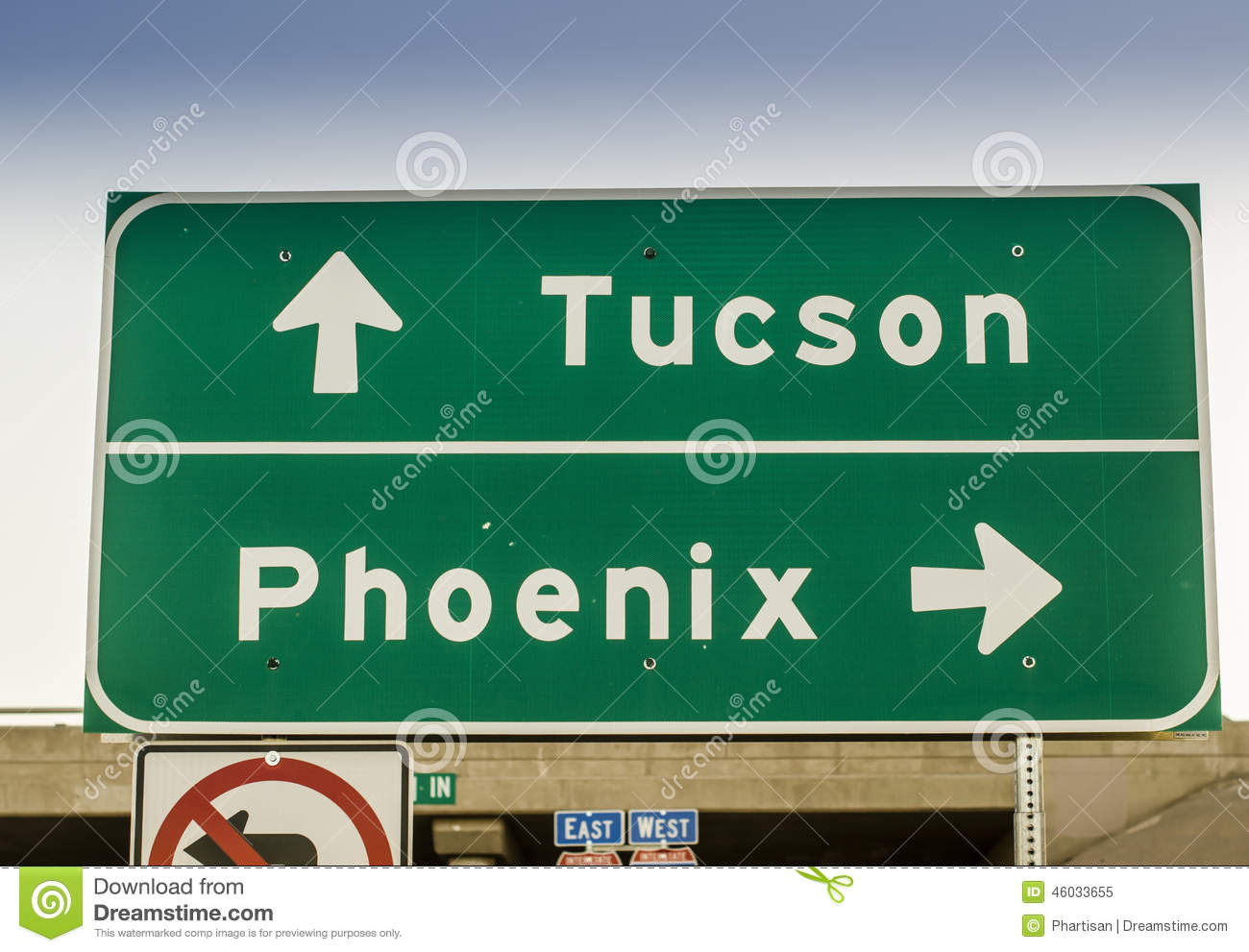 Tucson Phoenix Arizona Highway Road Sign Usa Stock Photo
