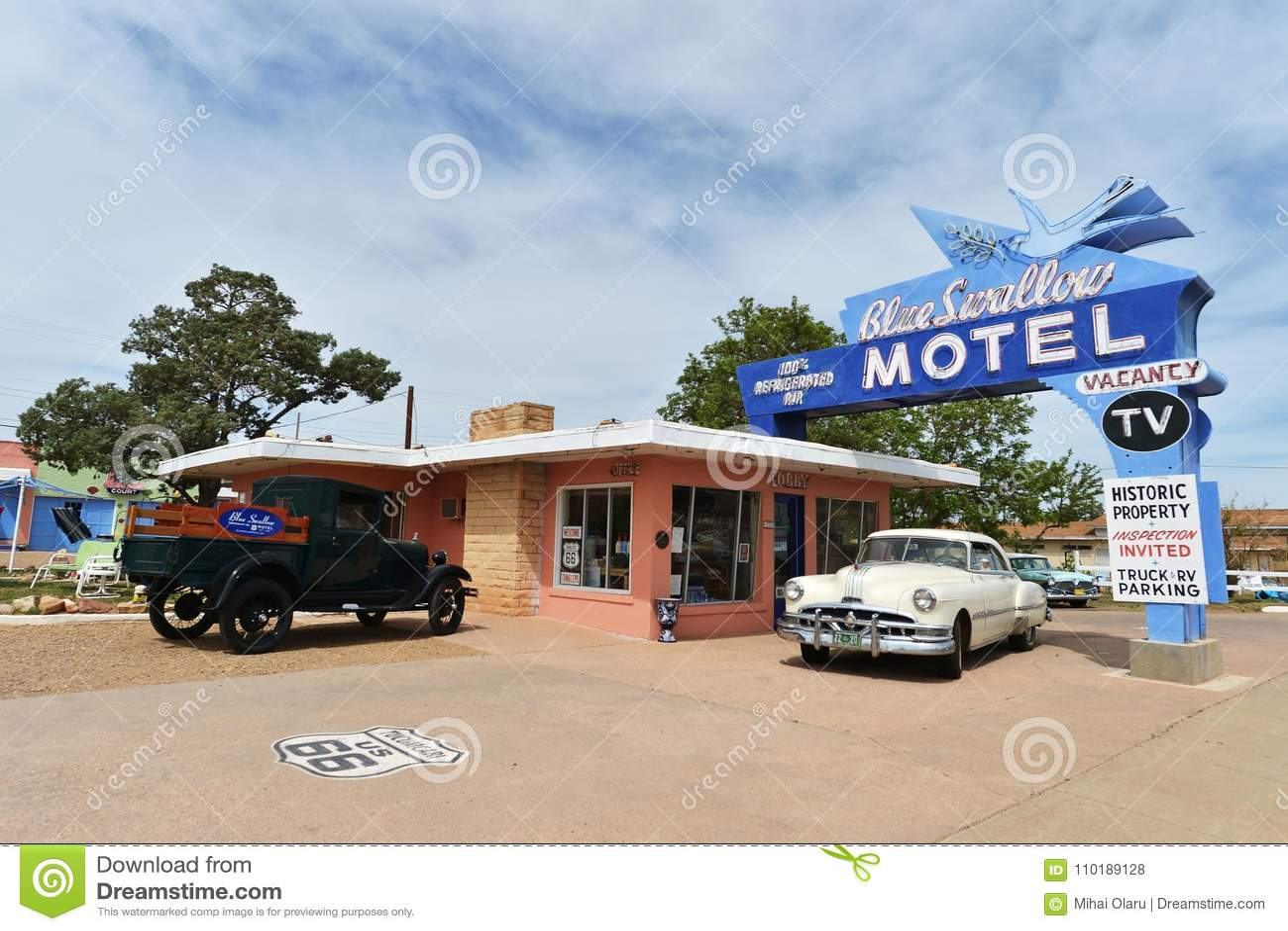 Tucumcari, New Mexiko, USA, am 25. April 2017: Altes Motel auf Route 66