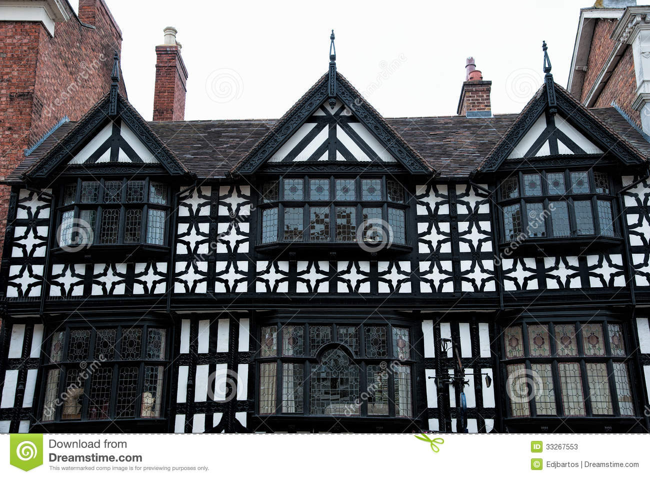 Tudor buildings stock image. Image of landmark, british