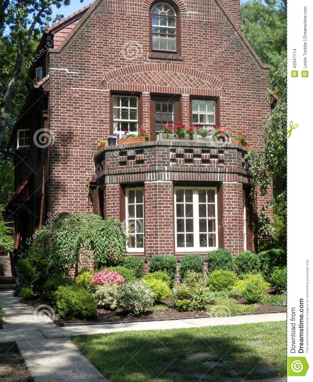 Tudor Style Brick Home In Forest Hills, N.Y. Stock Photo