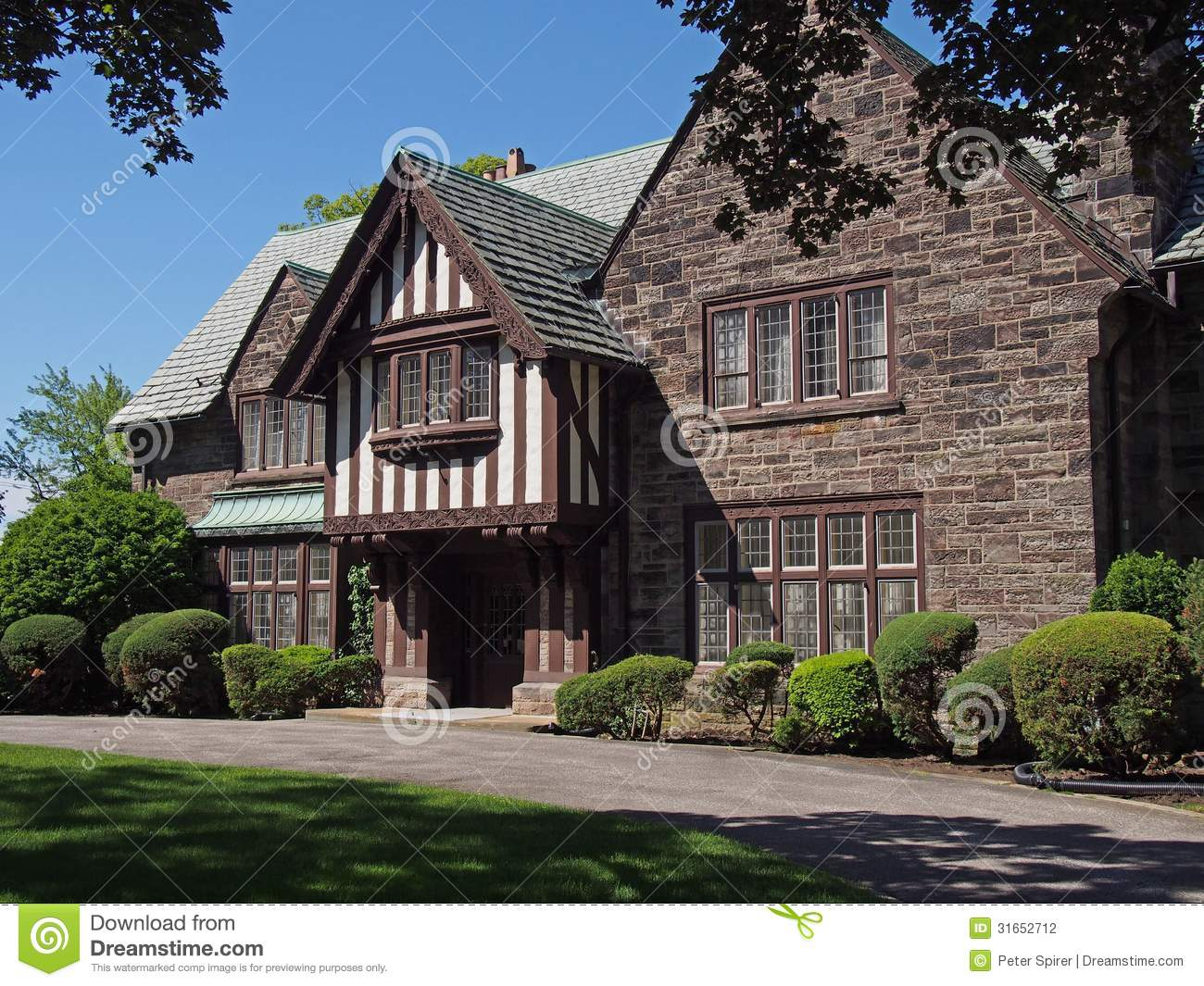 Stock Photography Tudor Style House Stone Details Image31652712 on french country stone homes