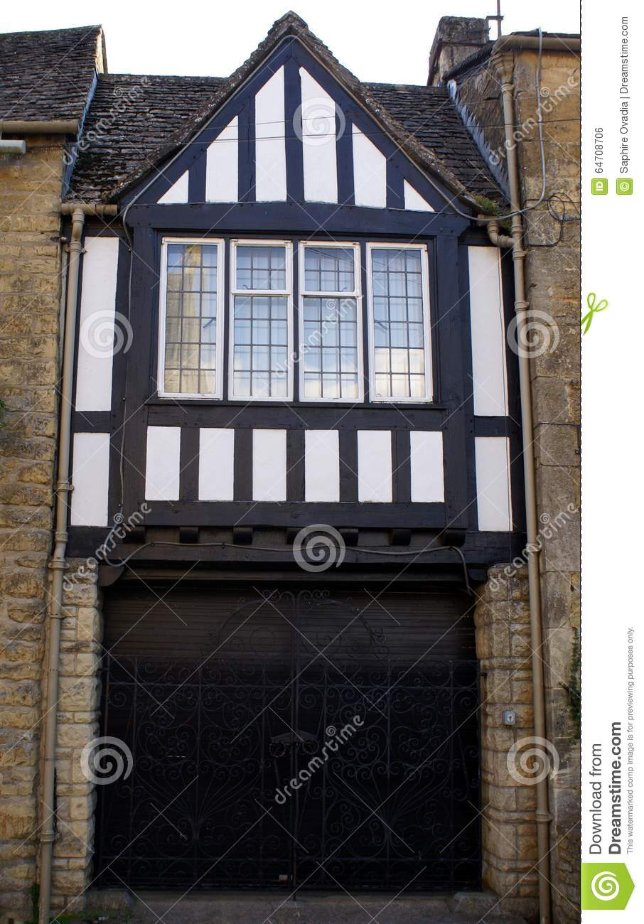 Tudor Facade tudor window stock photo - image: 64708706