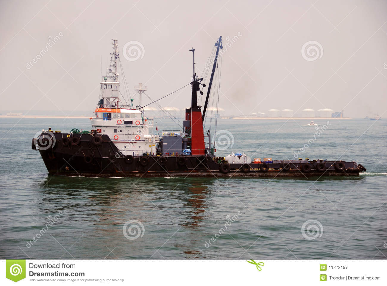 Tug And Barge In Singapore Anchorage  Stock Image - Image of ship