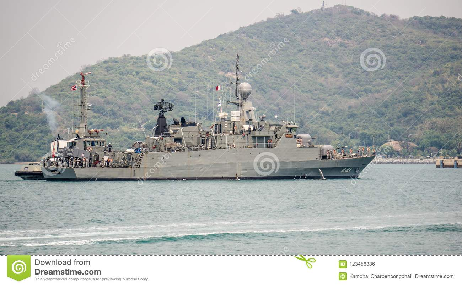 Tug Boat Supports HTMS Rattankosin Royal Thai Navy Corvette