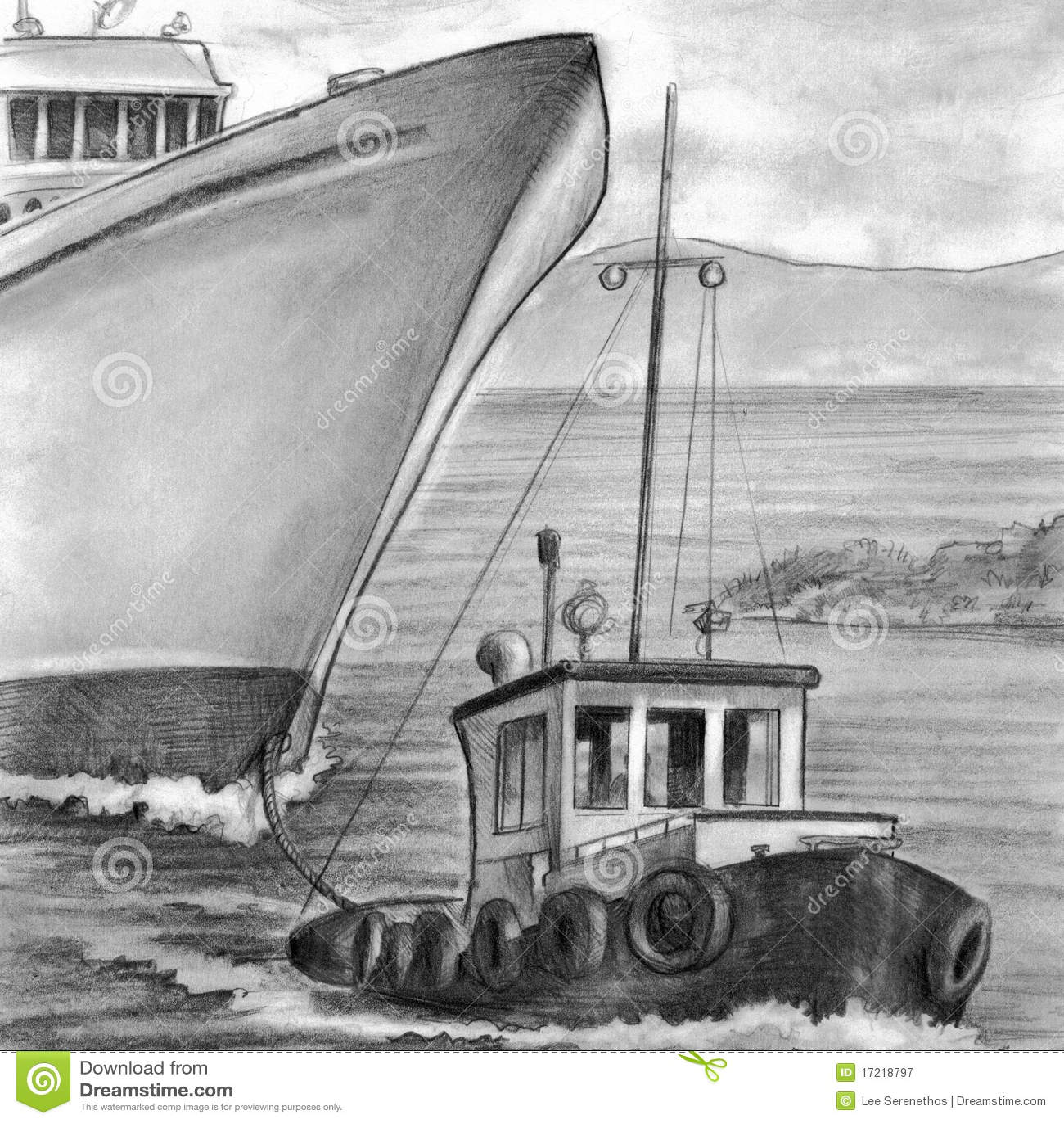 Tug Boat Towing Cruise Ship