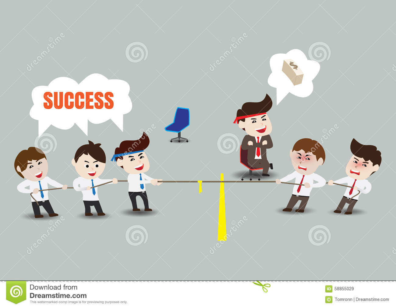 Tug Of War, Teamwork To Successful Business, Template Stock Vector ...