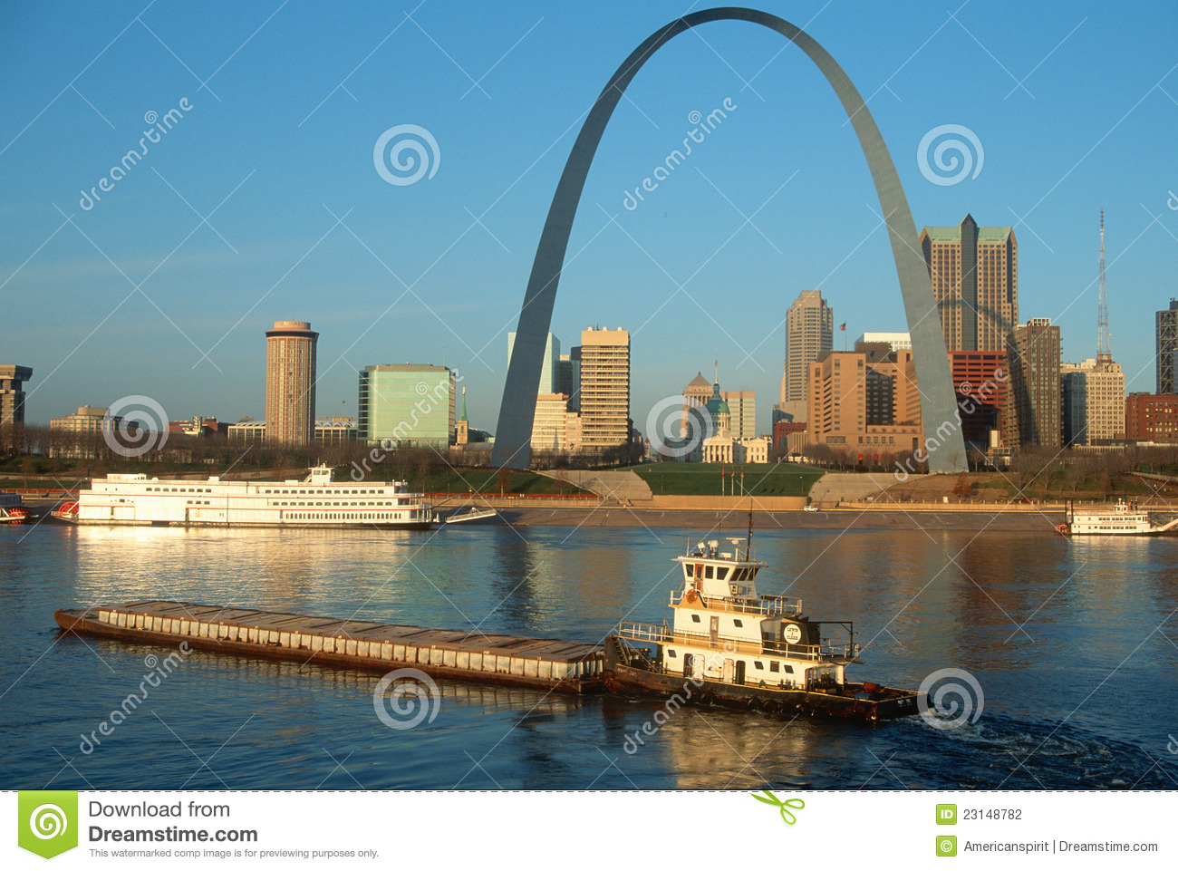 tugboat near st louis mo arch editorial photography image 23148782. Black Bedroom Furniture Sets. Home Design Ideas