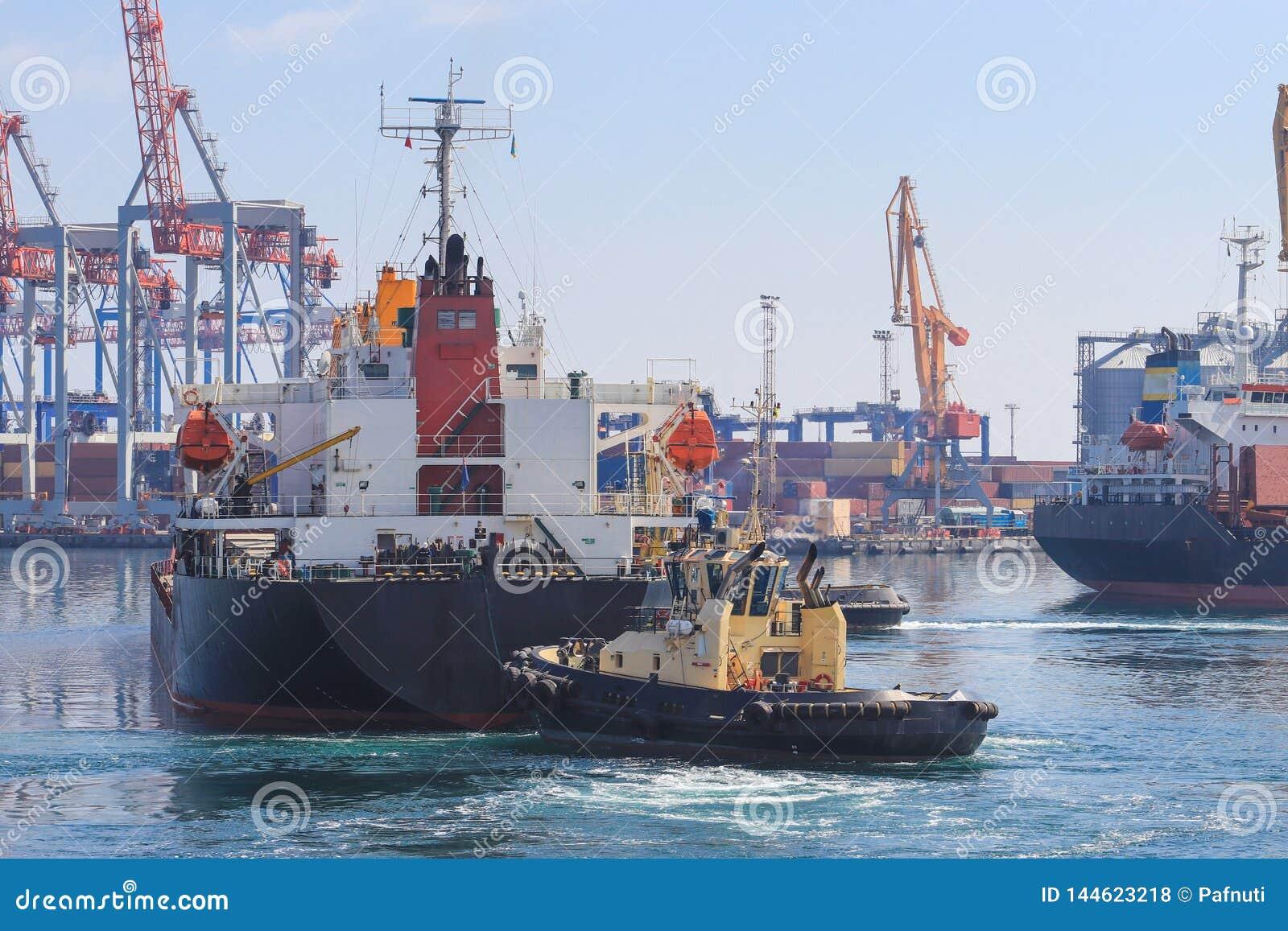 Tugboat przy łękiem ładunku statek, pomaga naczynie manewrować w porcie morskim