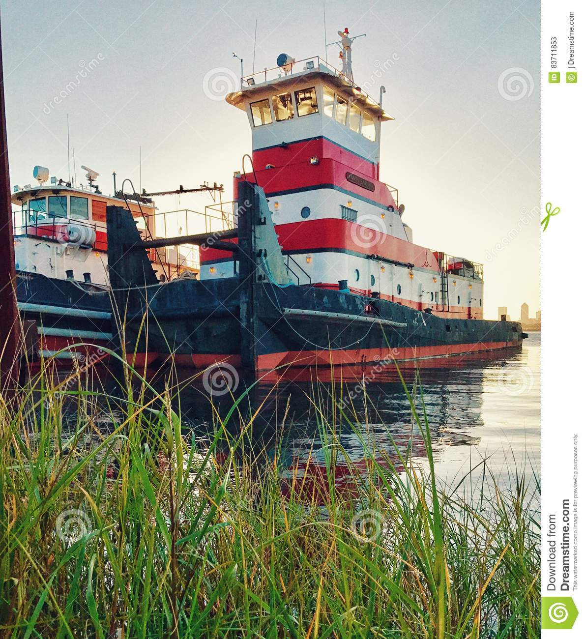 Tugboat On The River Stock Photo