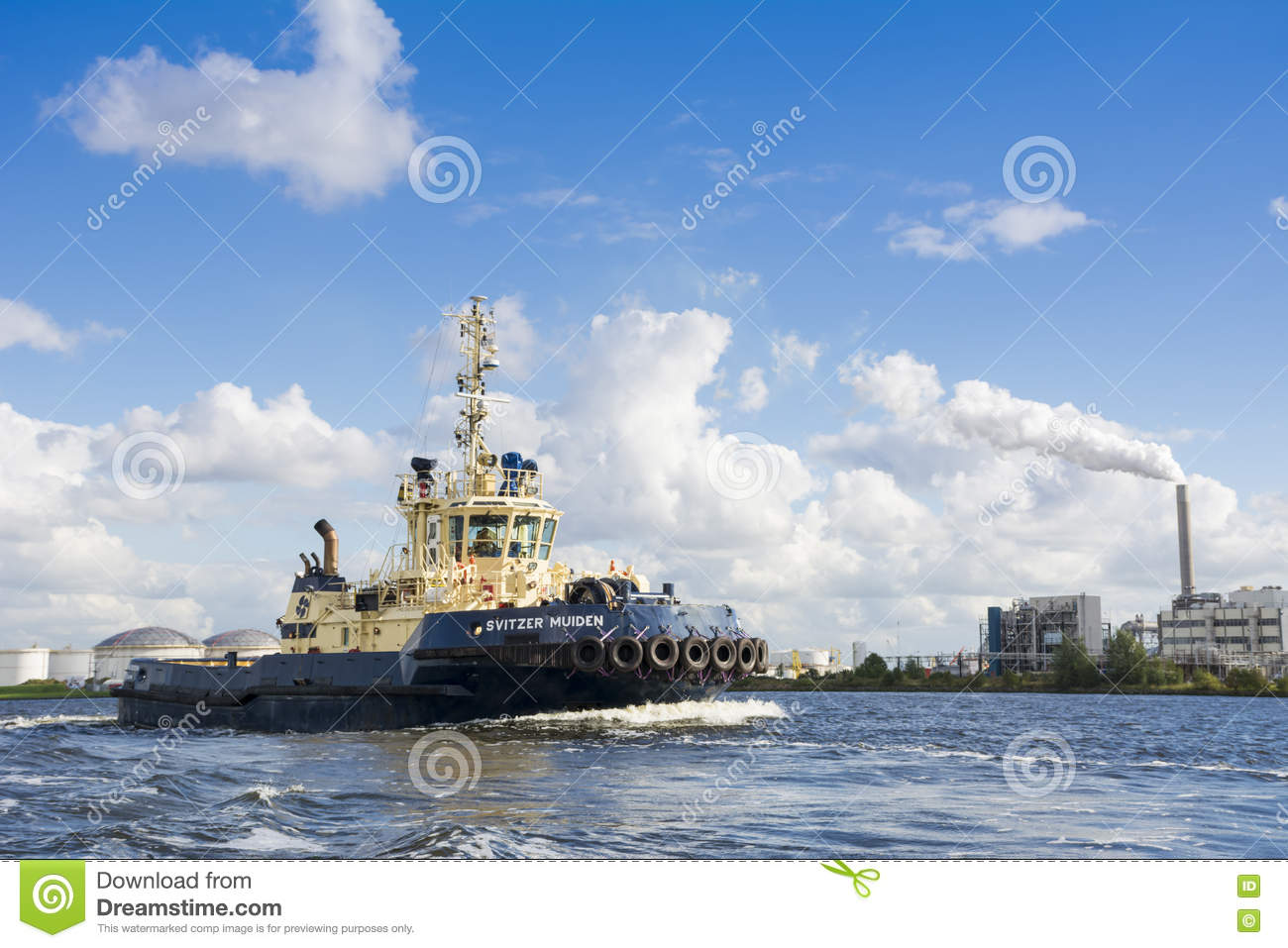 Tugboat Svitzer Muiden Has Finished His Job  Editorial Stock