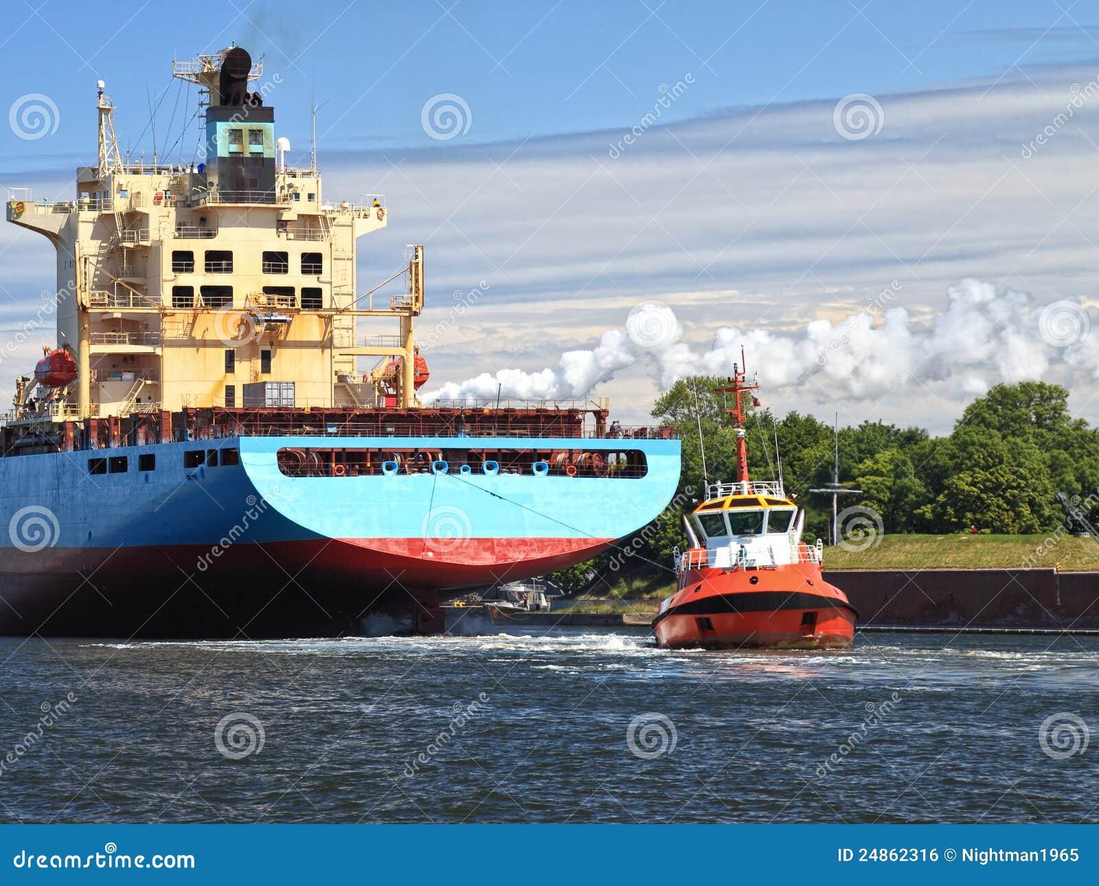 Tugboat Towing Ship Royalty Free Stock Image - Image: 24862316