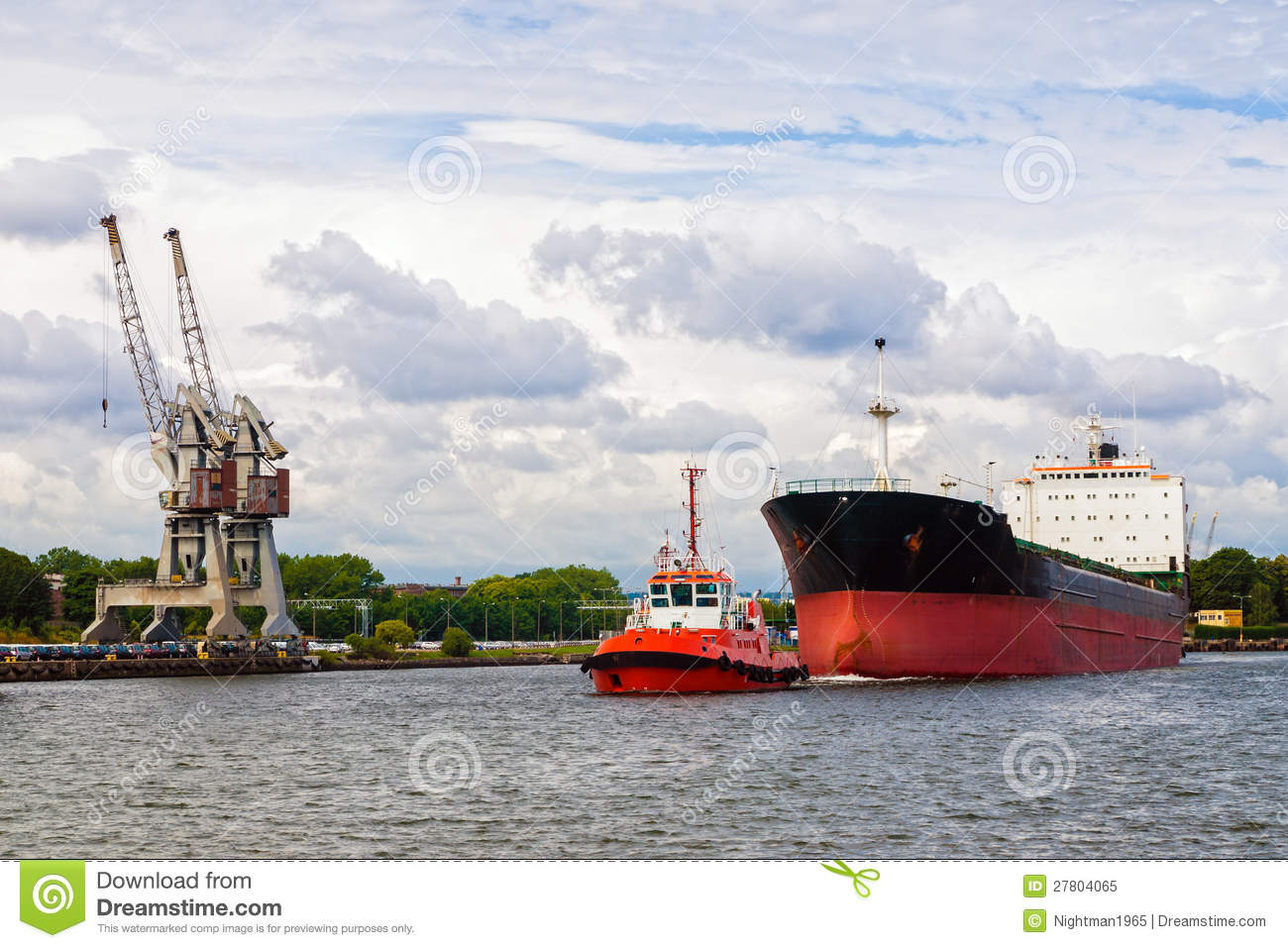 Tugboat towing a ship stock image. Image of push, commercial - 27804065