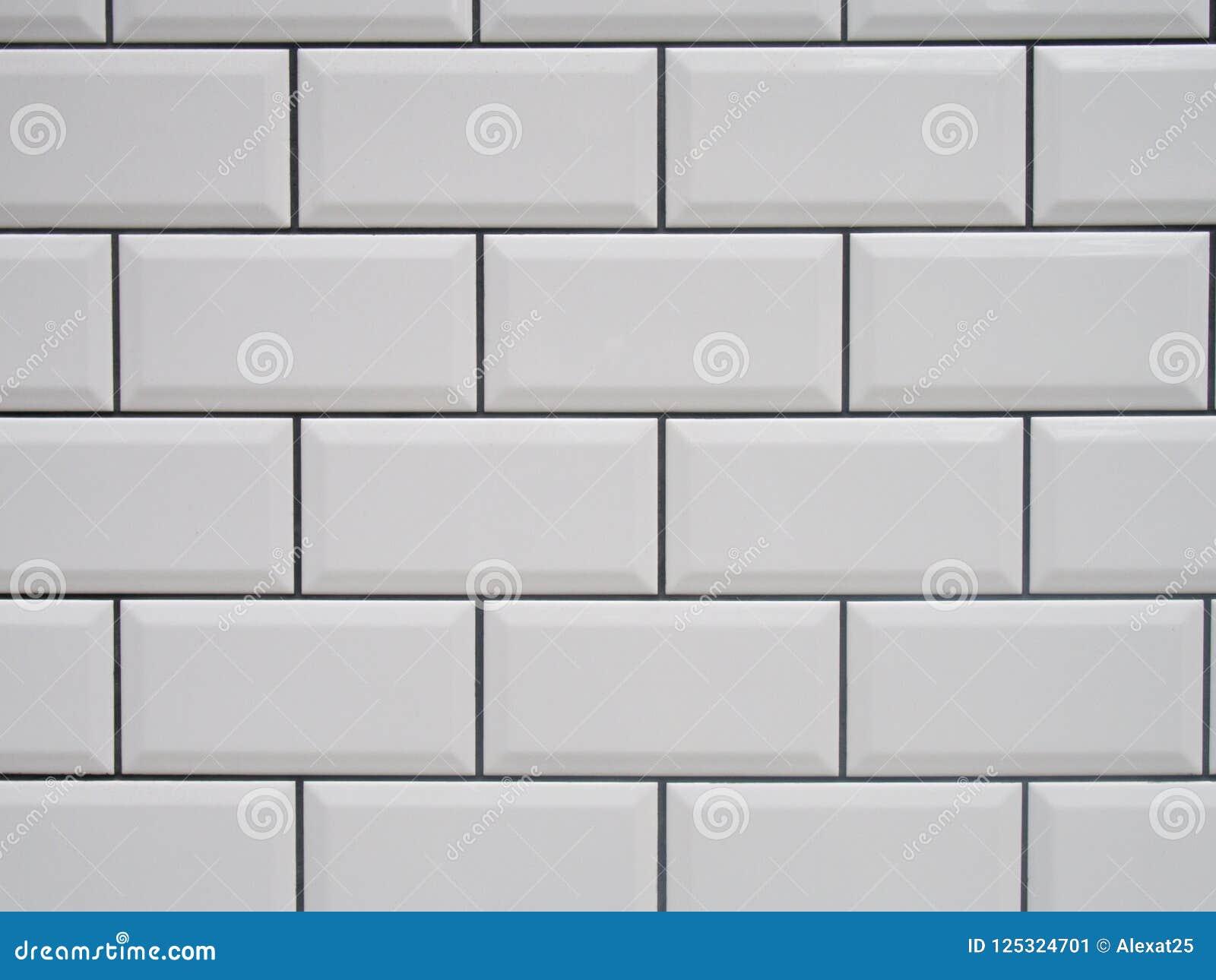 Carrelage Metro Blanc Joint Gris tuile blanche avec les joints noirs image stock - image du