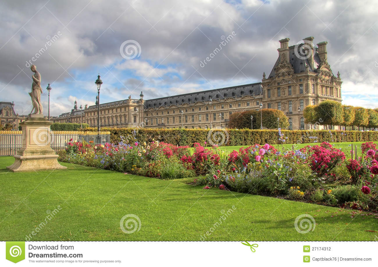 Tuileries gardens in paris louvre museum stock photo for Paris tuileries