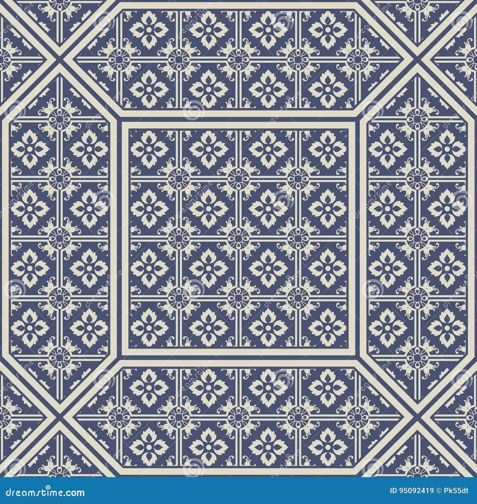 Tuiles modelées de plancher et de mur Tuiles décoratives en céramique Texture de fleur de vintage