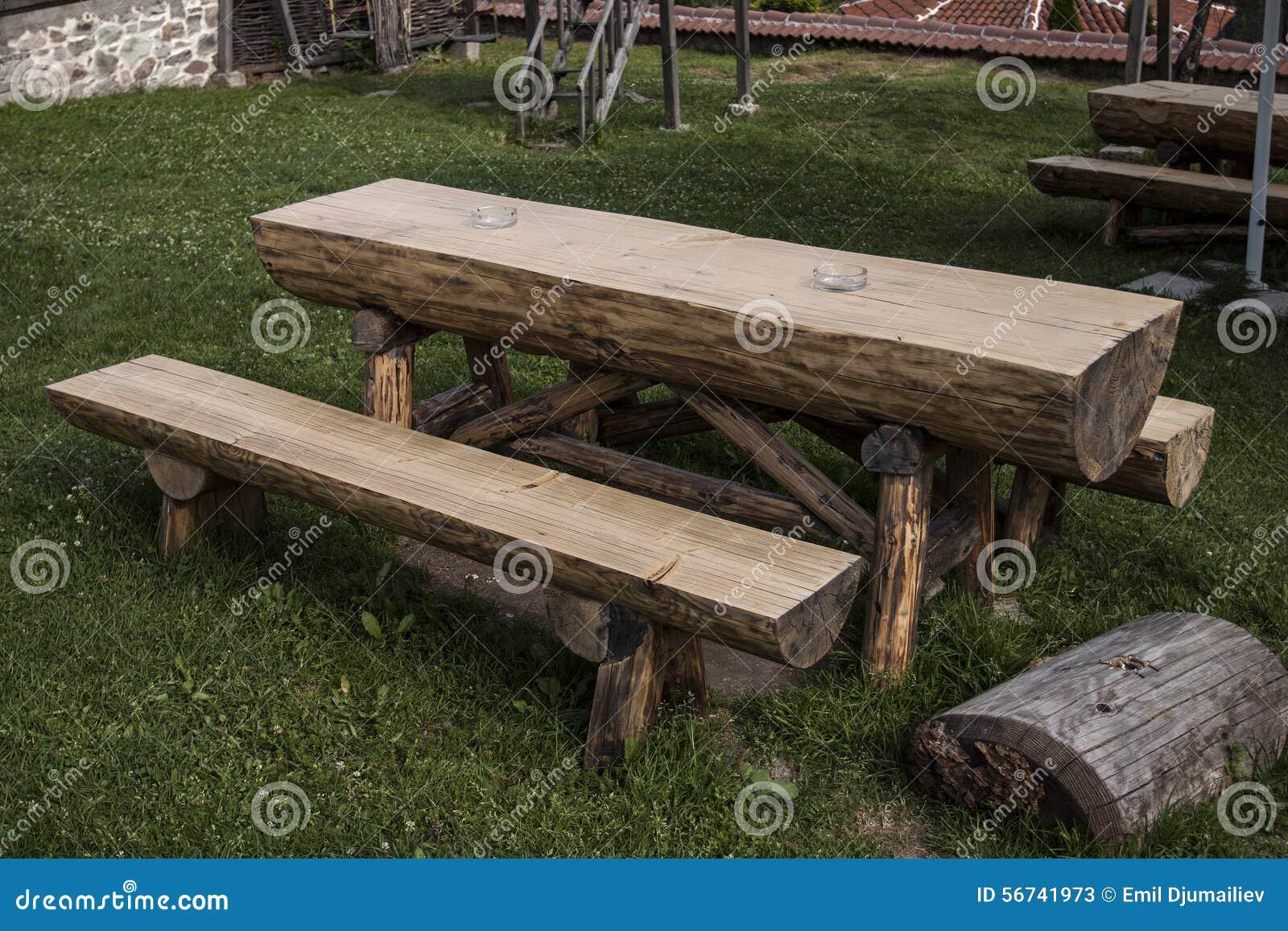 Tuin houten lijst en bank