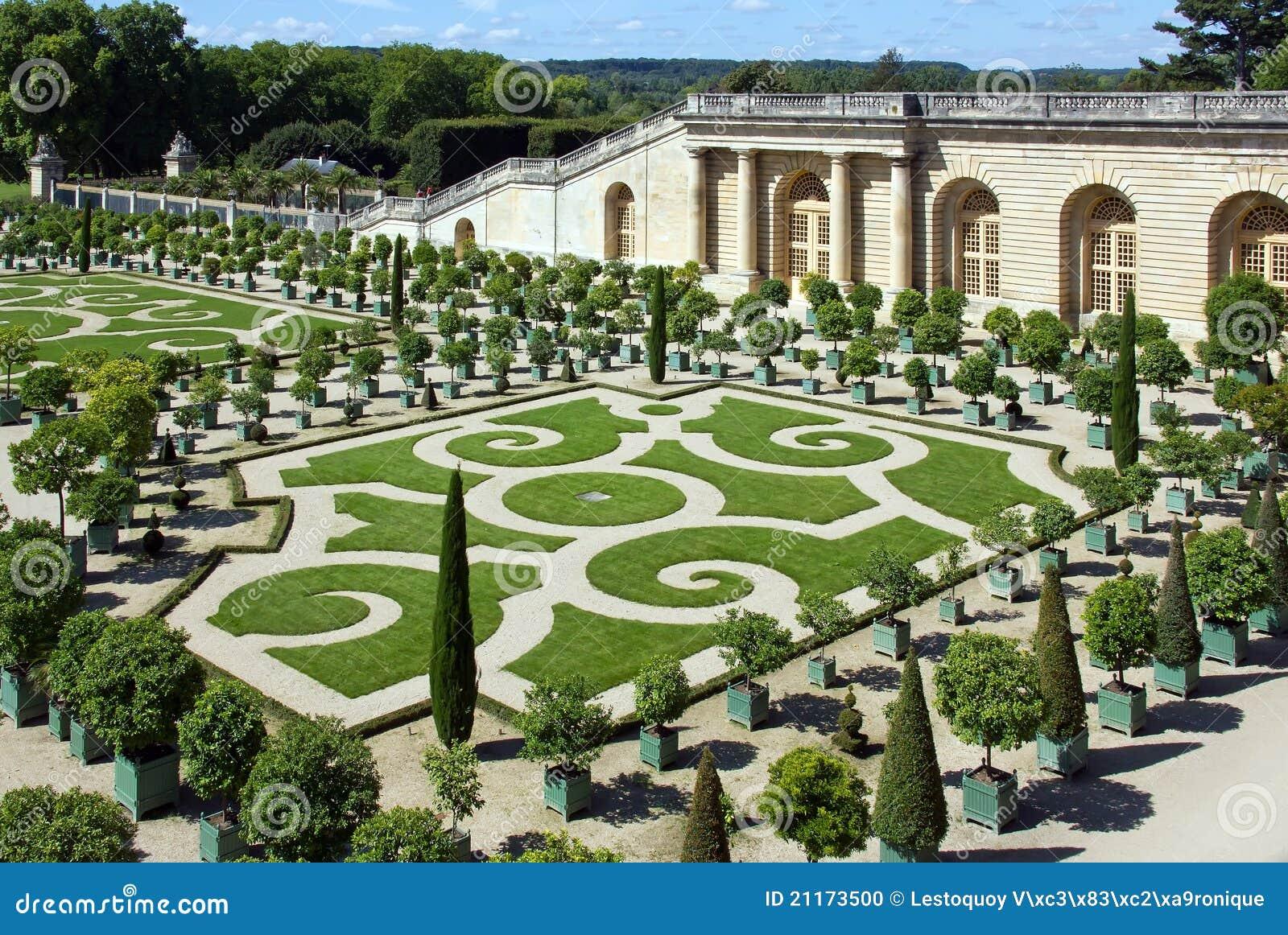 Paleis Van Versailles Tuin.Tuin Van Het Kasteel Van Versailles Frankrijk Stock Foto