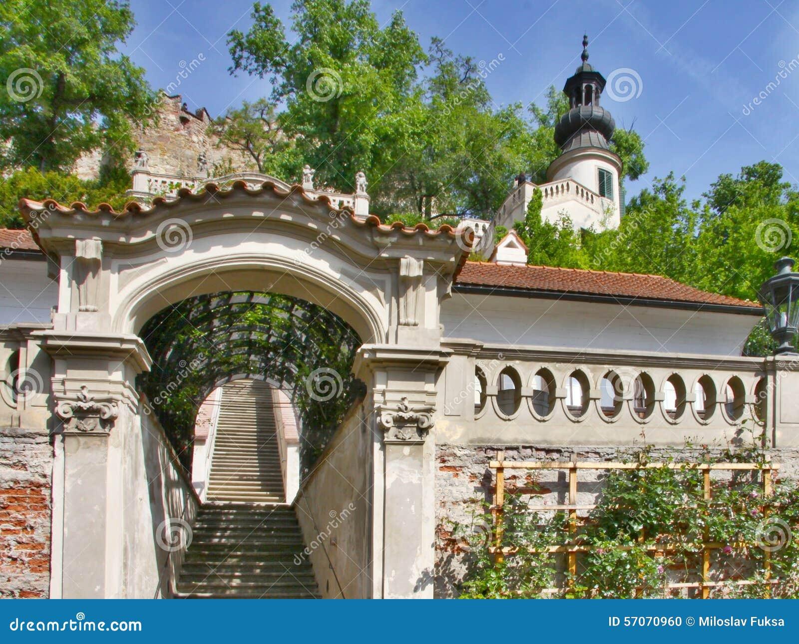 Tuinen op terrassen onder het Kasteel van Praag
