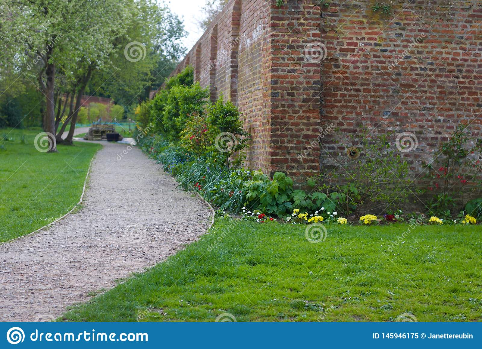 Tuinscène die weg met hoek van bakstenen muur en gronddekkingsinstallaties tonen
