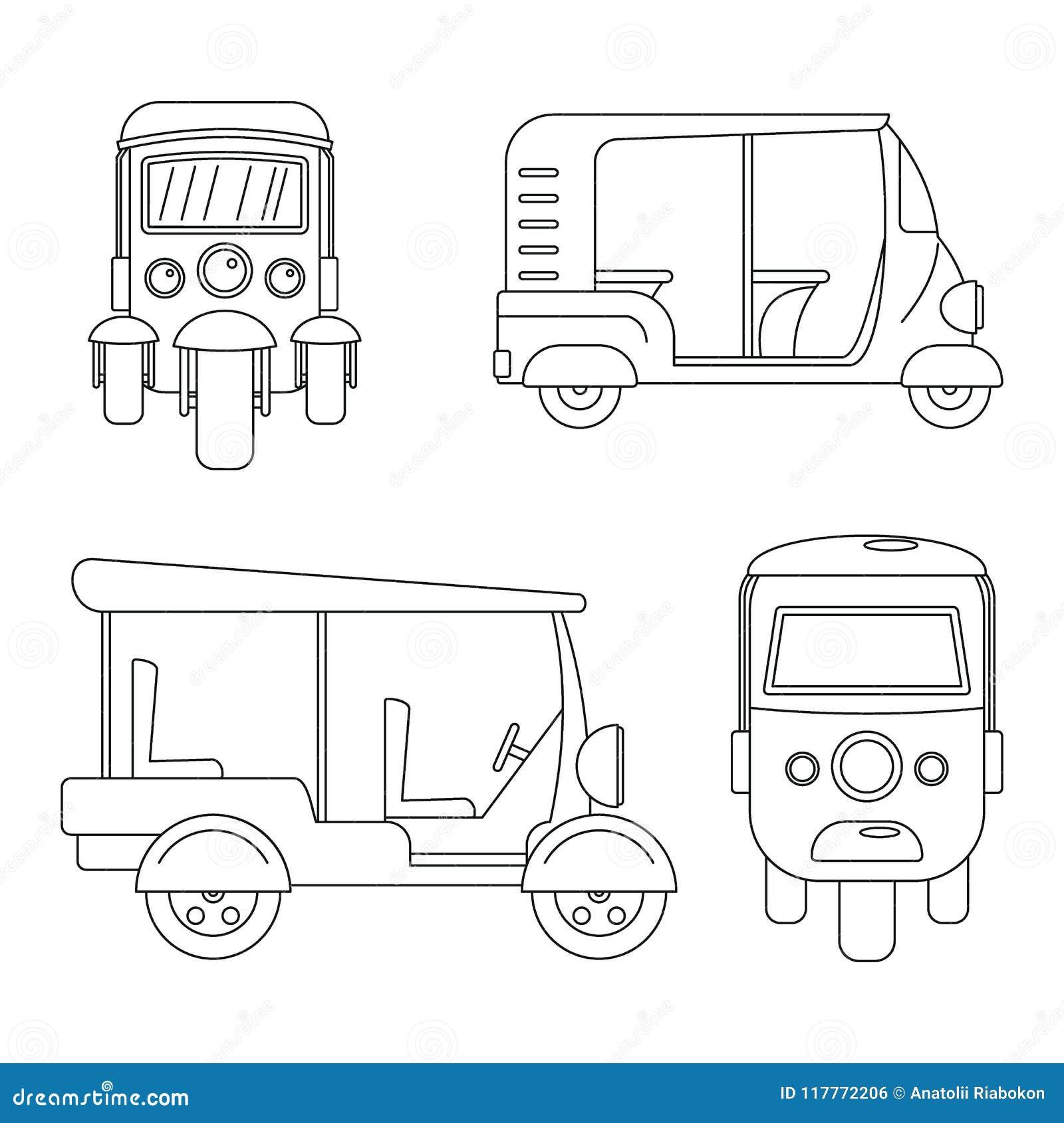 Tuk rickshaw Thailand icons set, outline style