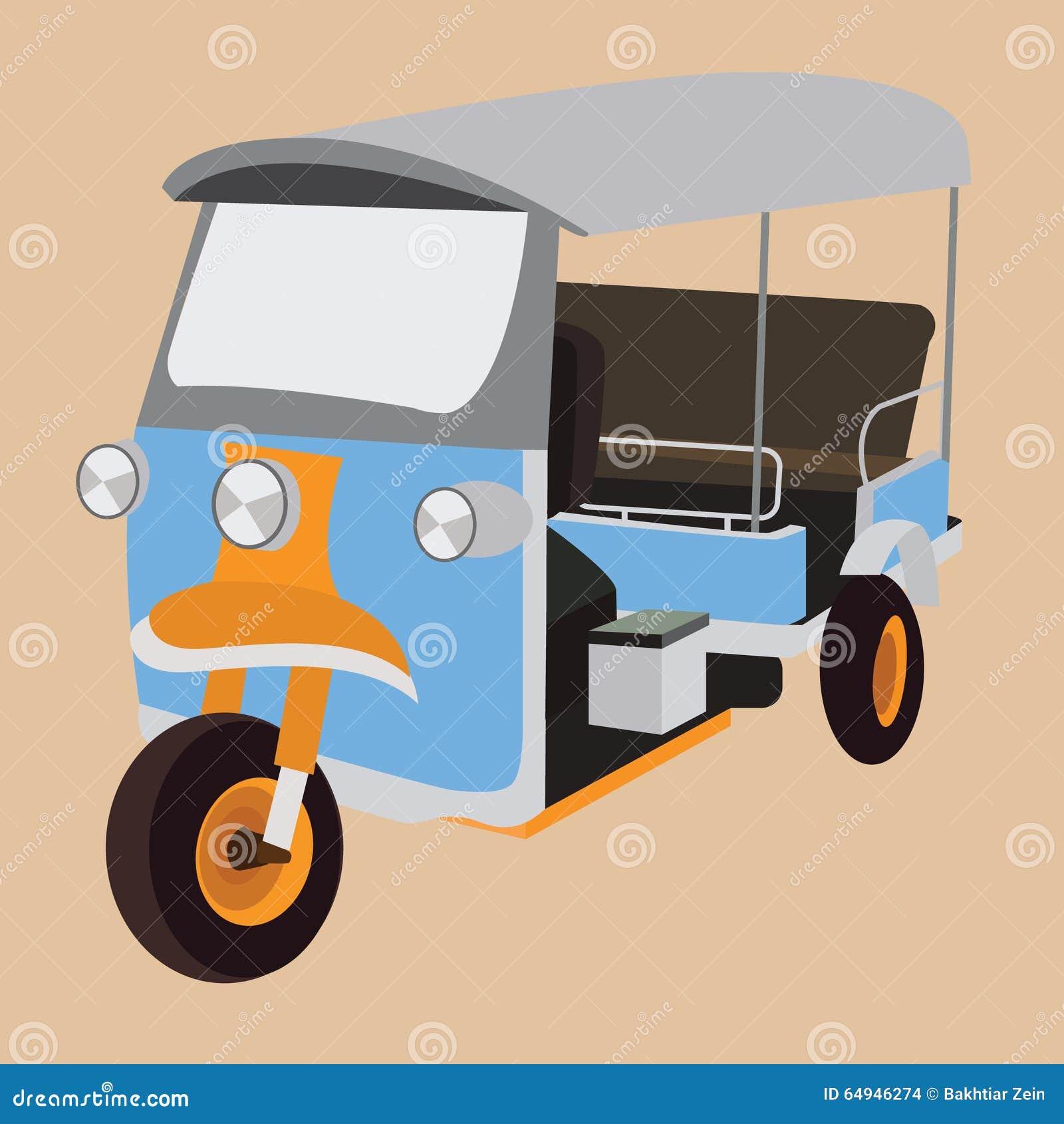 tuk tuk泰国偶象运输人力车运输城市曼谷出租汽车动画片.图片