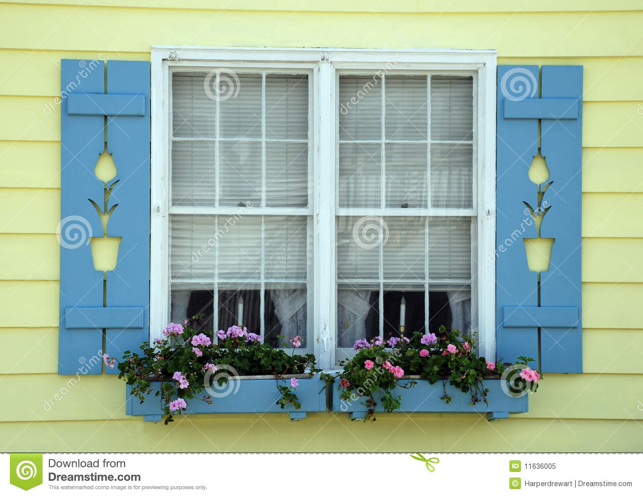 Tulip Cottage Window Royalty Free Stock Photo