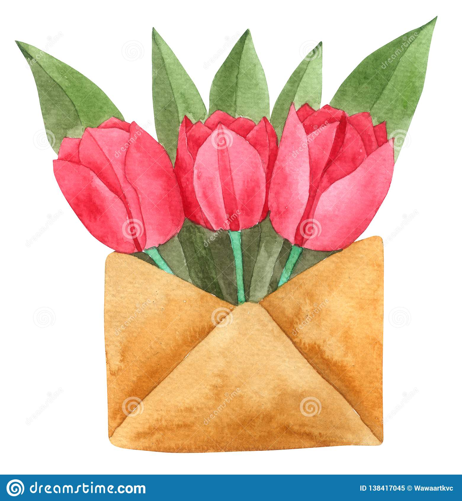 Tulip Flower in Envelope watercolor isolated on white background , Hand drawn painted for Greeting Card ,Wallpaper