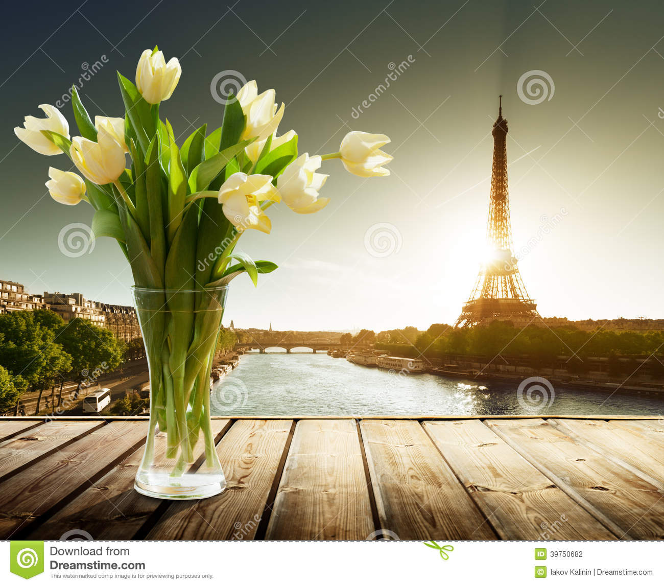tulip flowers and eiffel tower stock photo image 39750682. Black Bedroom Furniture Sets. Home Design Ideas