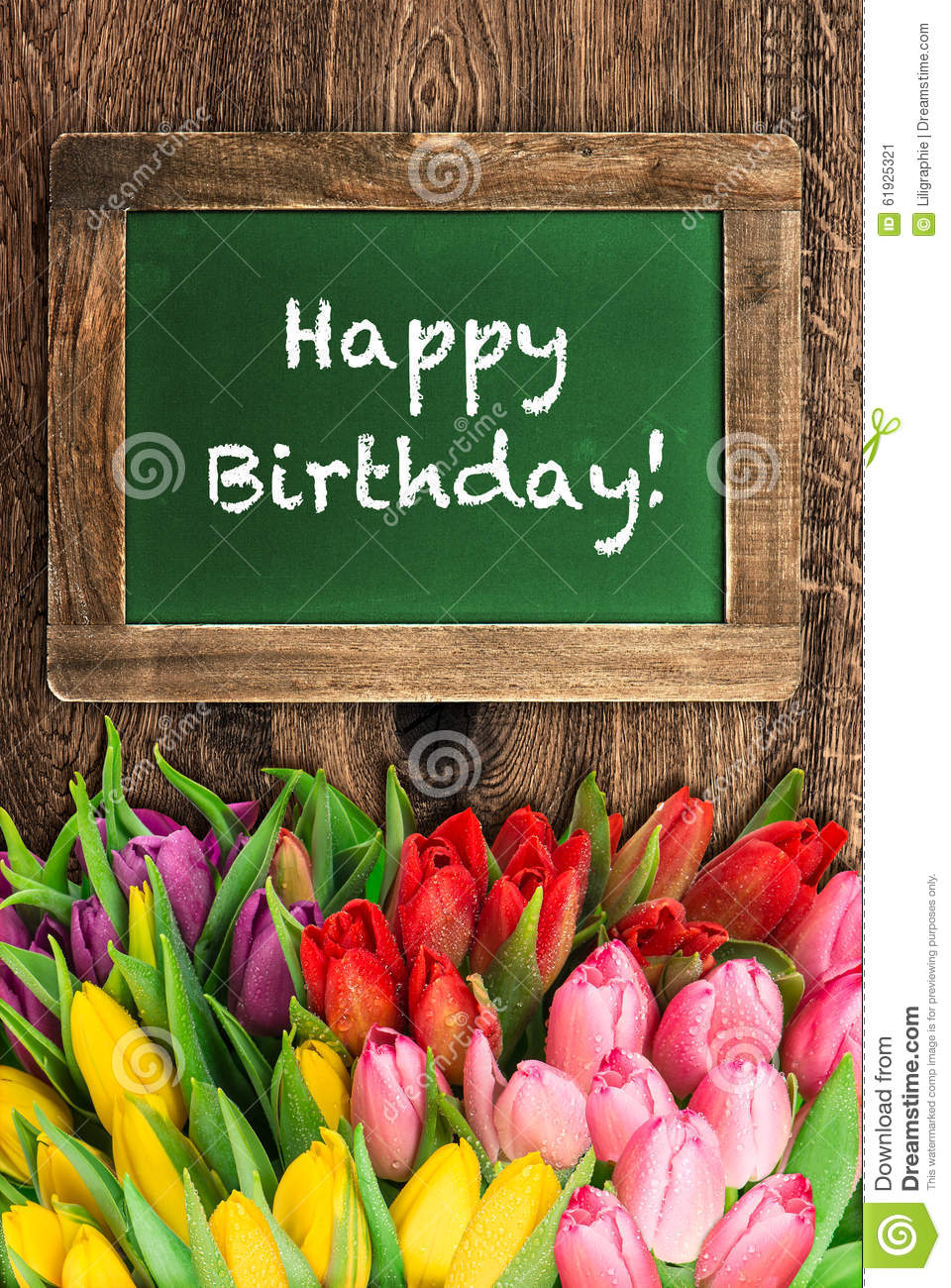 Tulip Flowers And Vintage Chalkboard Happy Birthday Stock Image