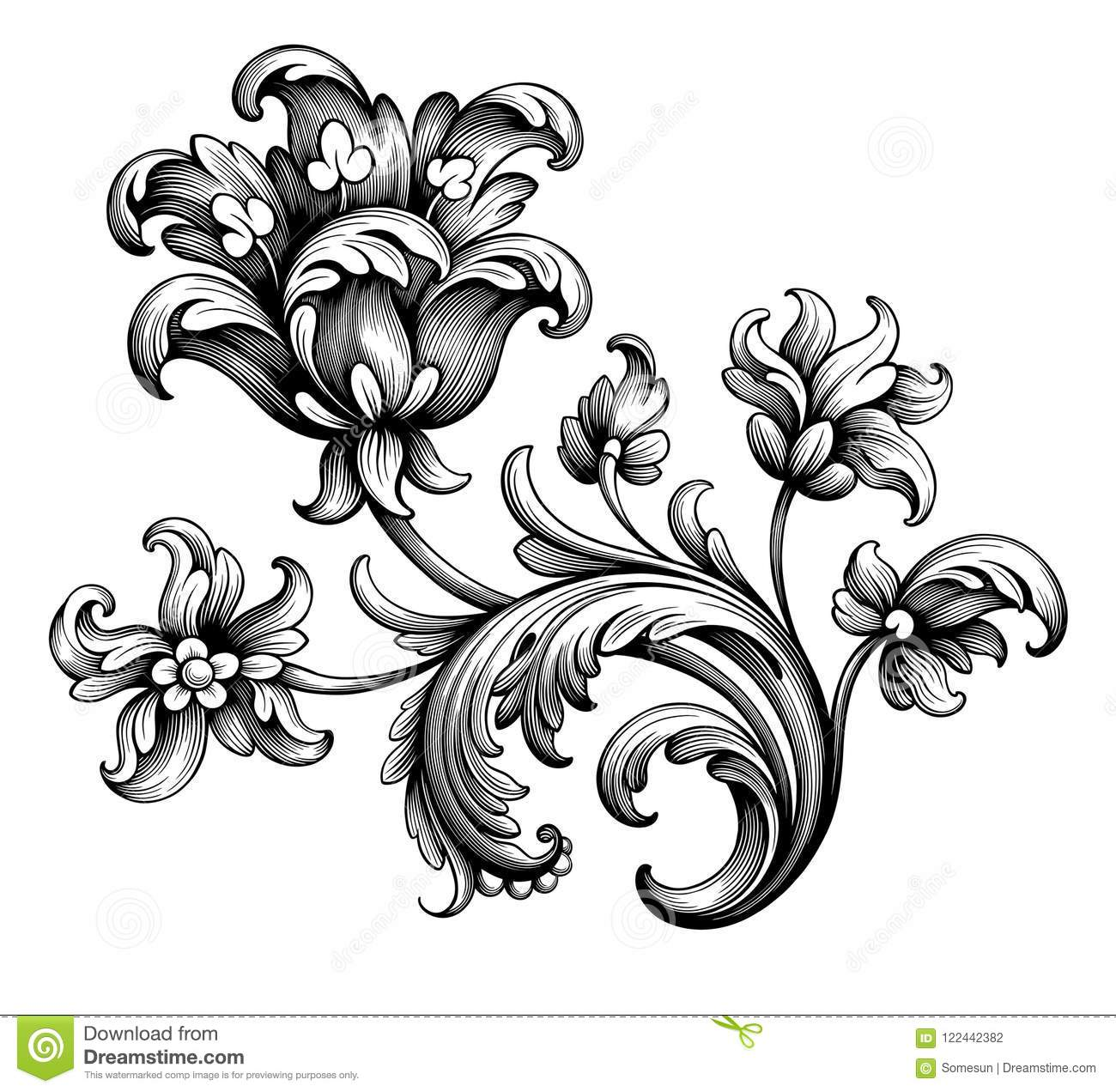 Tulip peony flower vintage Baroque Victorian frame border floral ornament scroll engraved retro pattern tattoo filigree vector