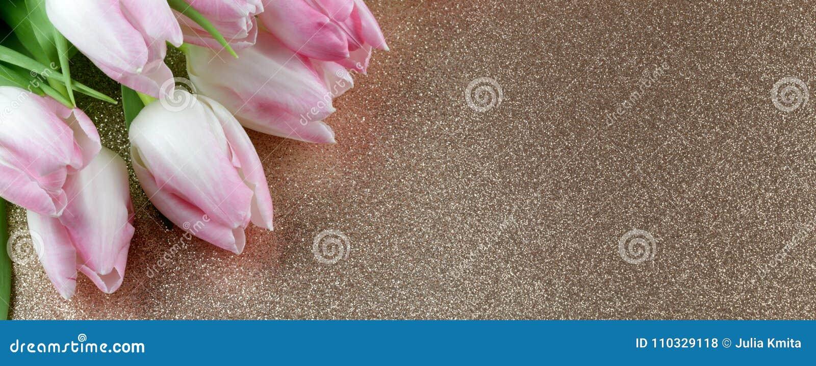 Tulipanes blancos blandos en fondo brillante