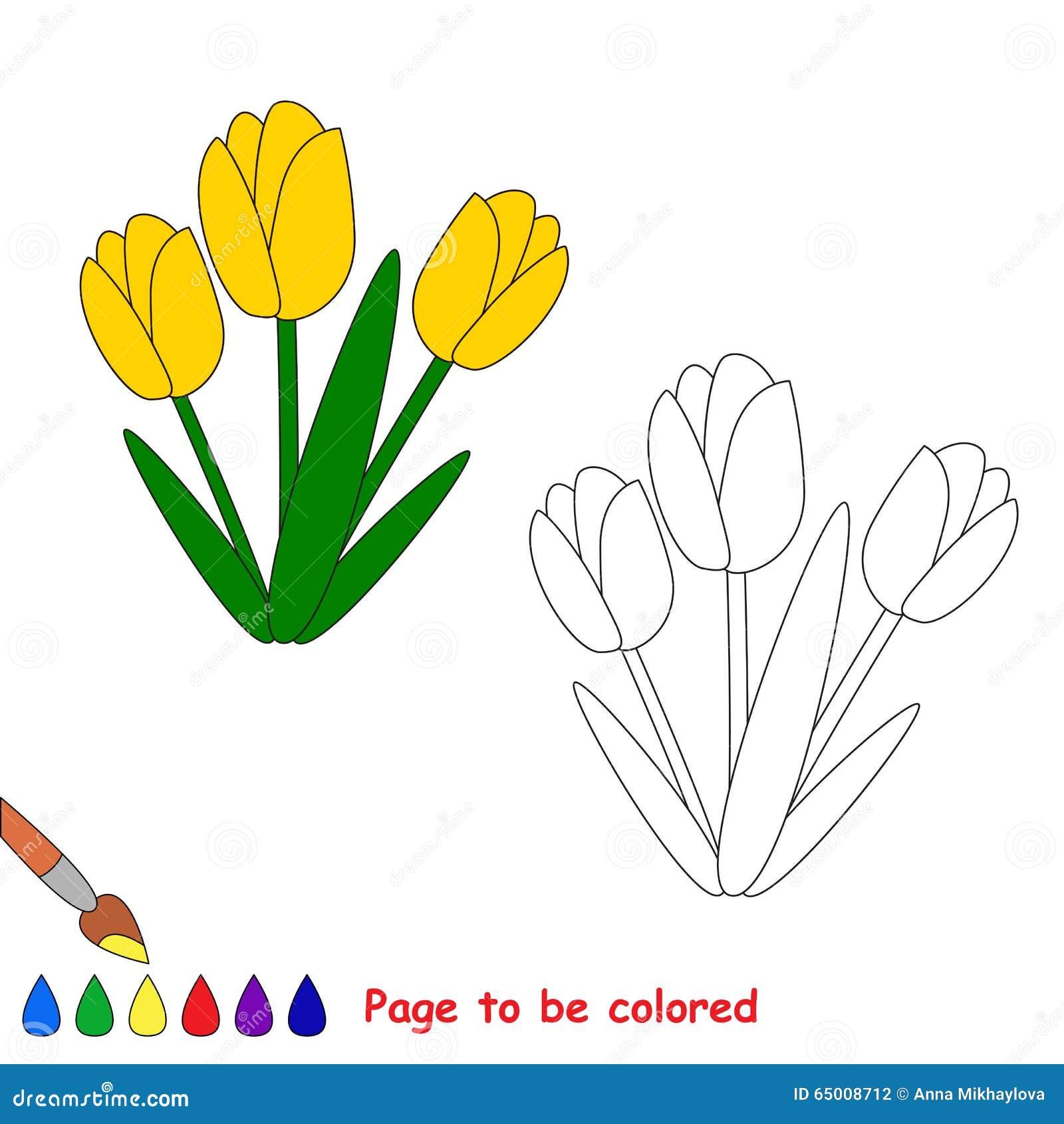 Tulipani Gialli Nel Fumetto Di Vettore Da Colorare Illustrazione
