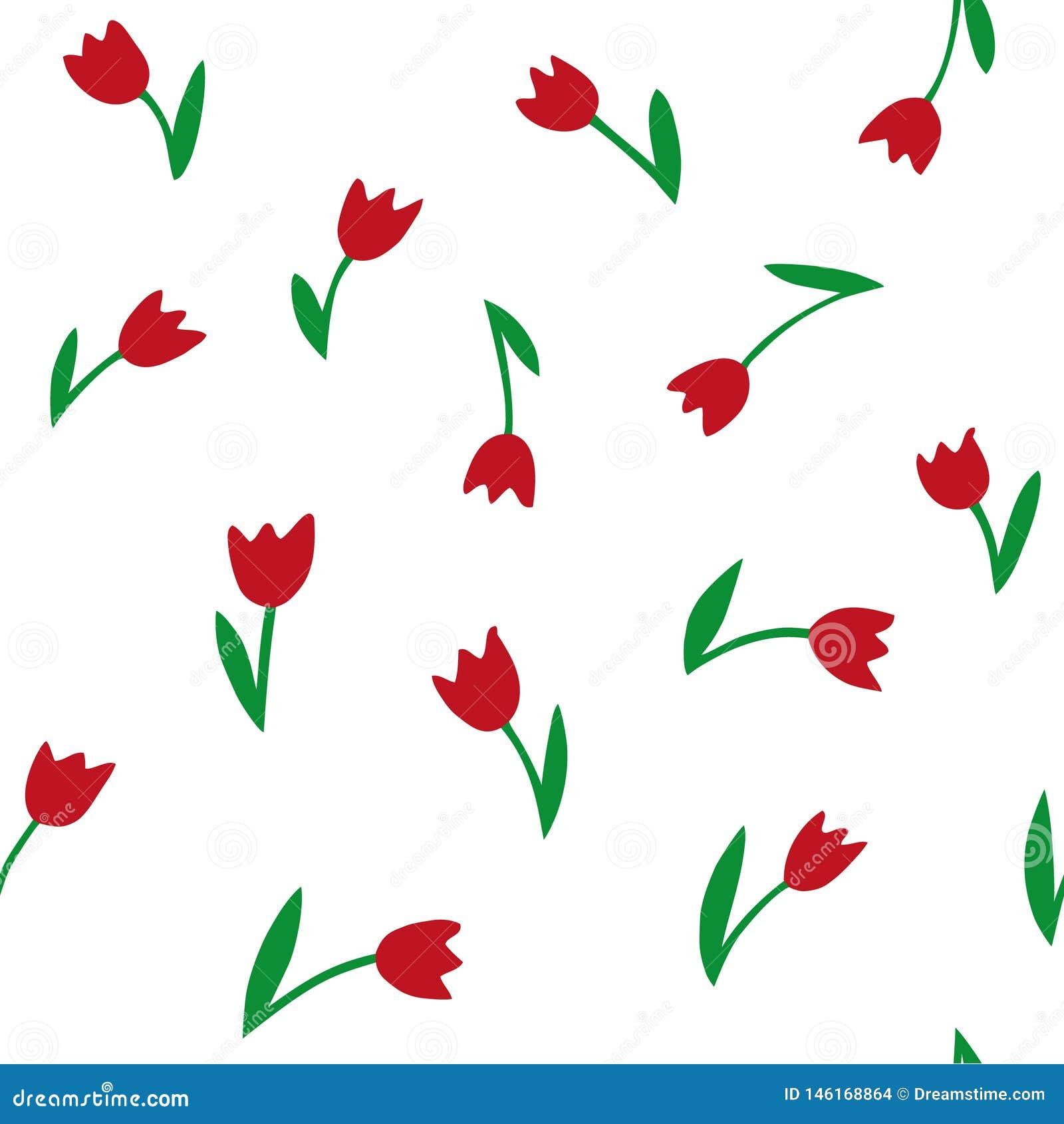 Tulipani Reticolo senza giunte di vettore Struttura del disegno della mano