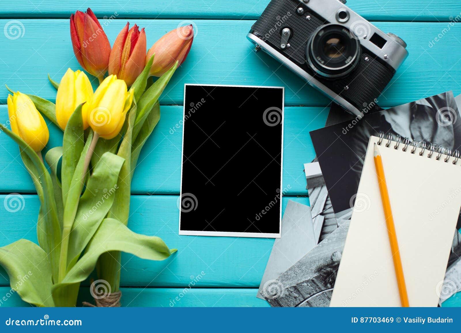 Tulipes, appareil-photo de vintage rétro et bloc-notes avec le crayon, et photos de finition sur un fond en bois bleu