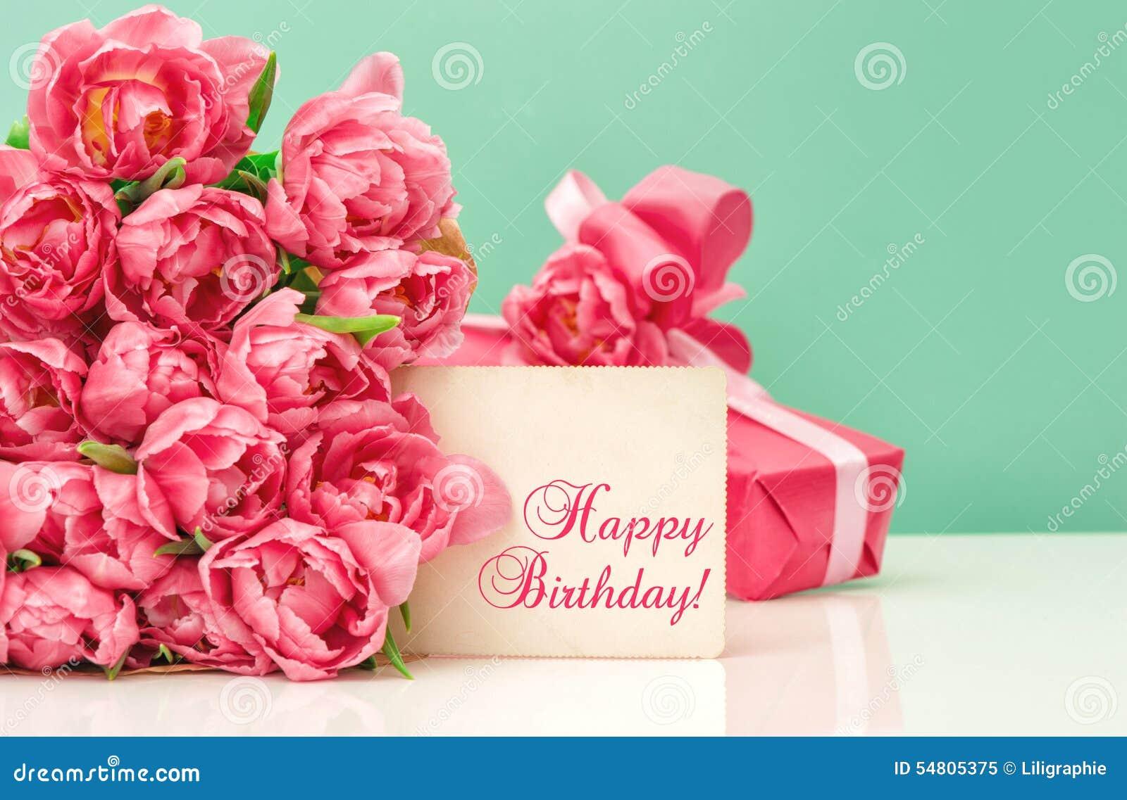 tulipes roses anniversaire de carte de voeux d 39 ang de cadeau joyeux image stock image du. Black Bedroom Furniture Sets. Home Design Ideas